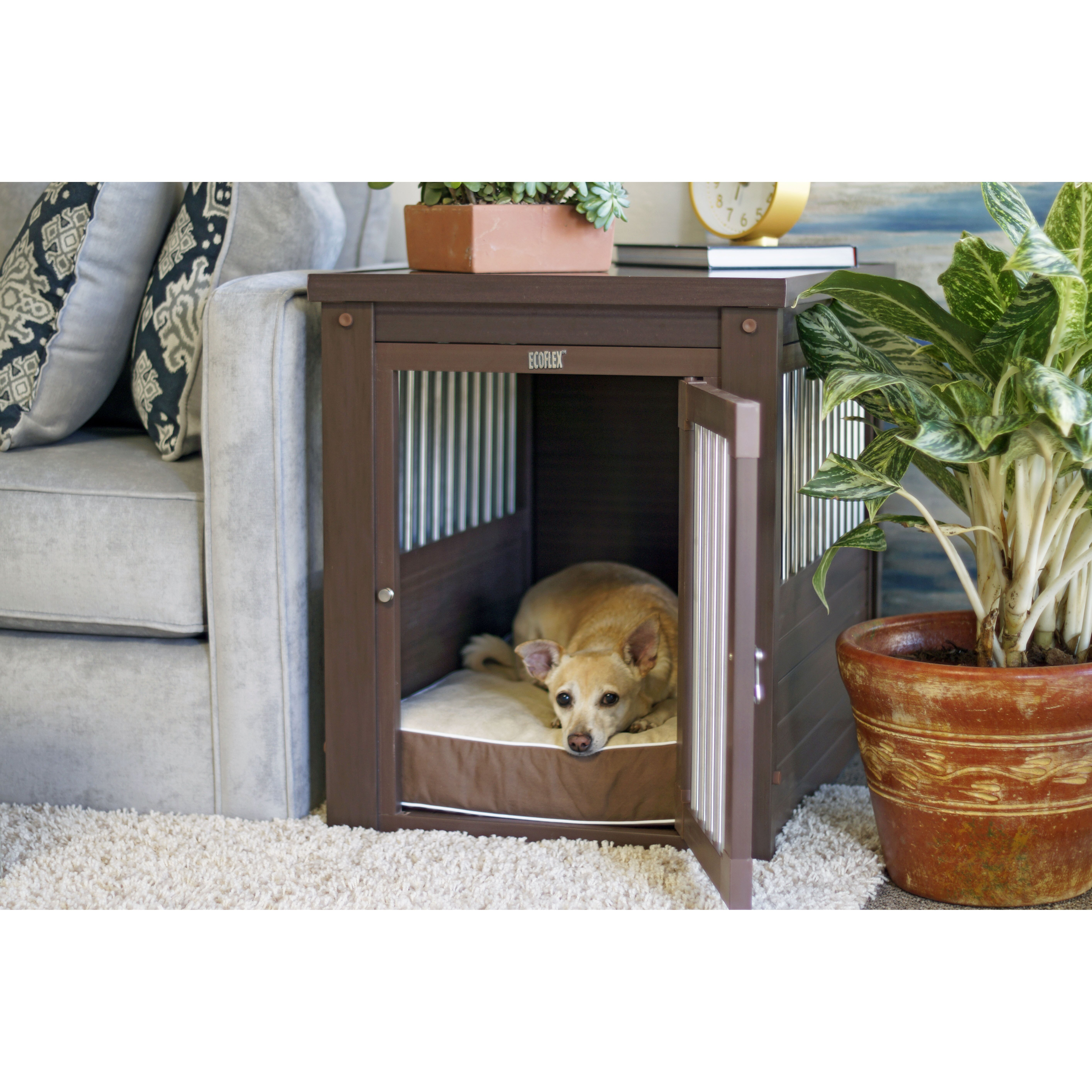 New age pet ecoflex pet crate end table reviews wayfair for Dog kennel clearance