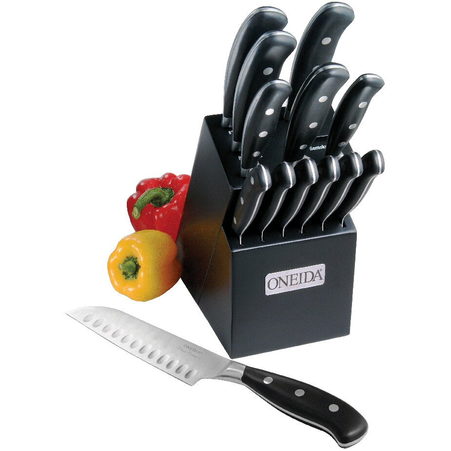Oneida cutlery 14 piece classic triple rivet pistol handle for Handle kitchen set