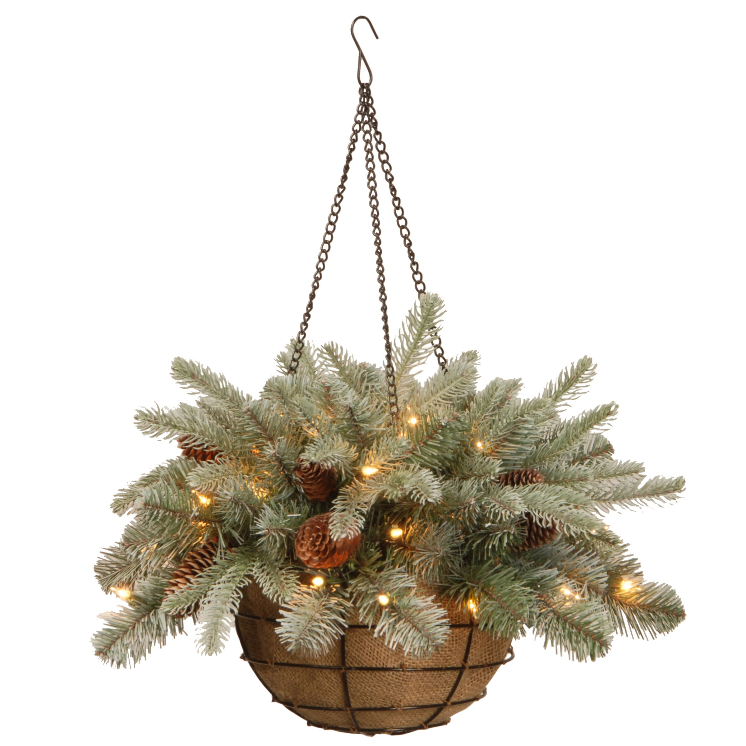 National tree co frosted arctic spruce hanging basket Hanging christmas lights
