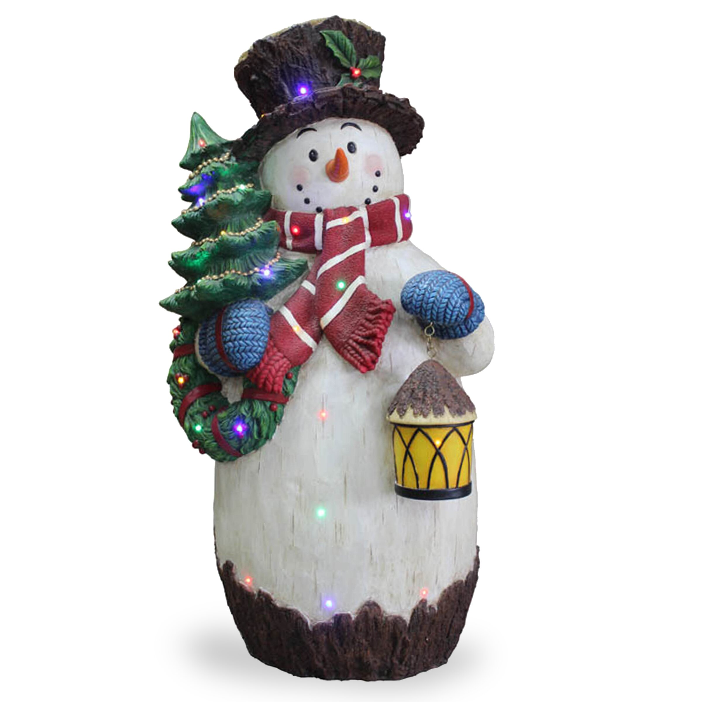 National tree co snowman holding tree christmas for Christmas snowman decorations