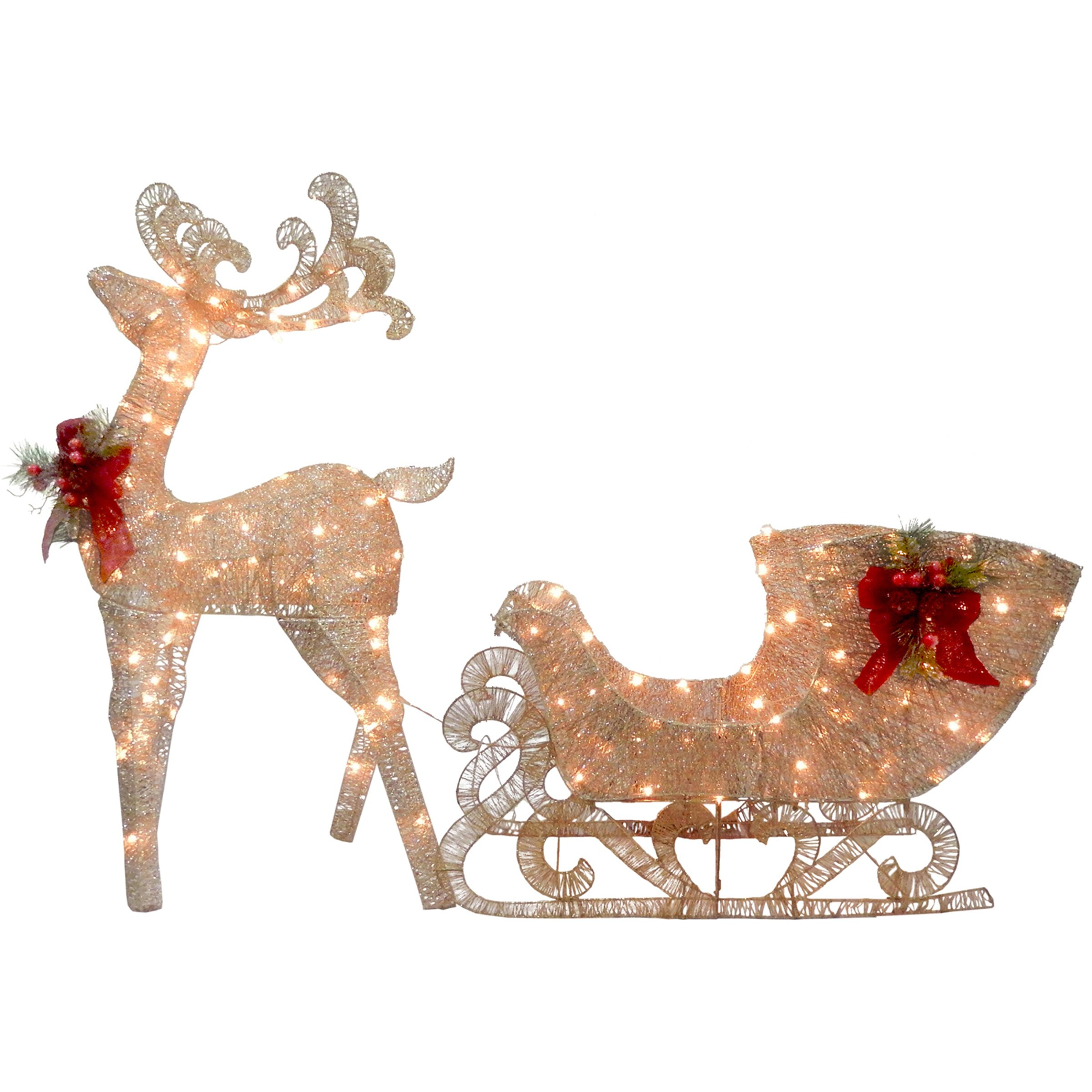 National tree co reindeer and santa s sleigh with led for Outdoor light up christmas decorations