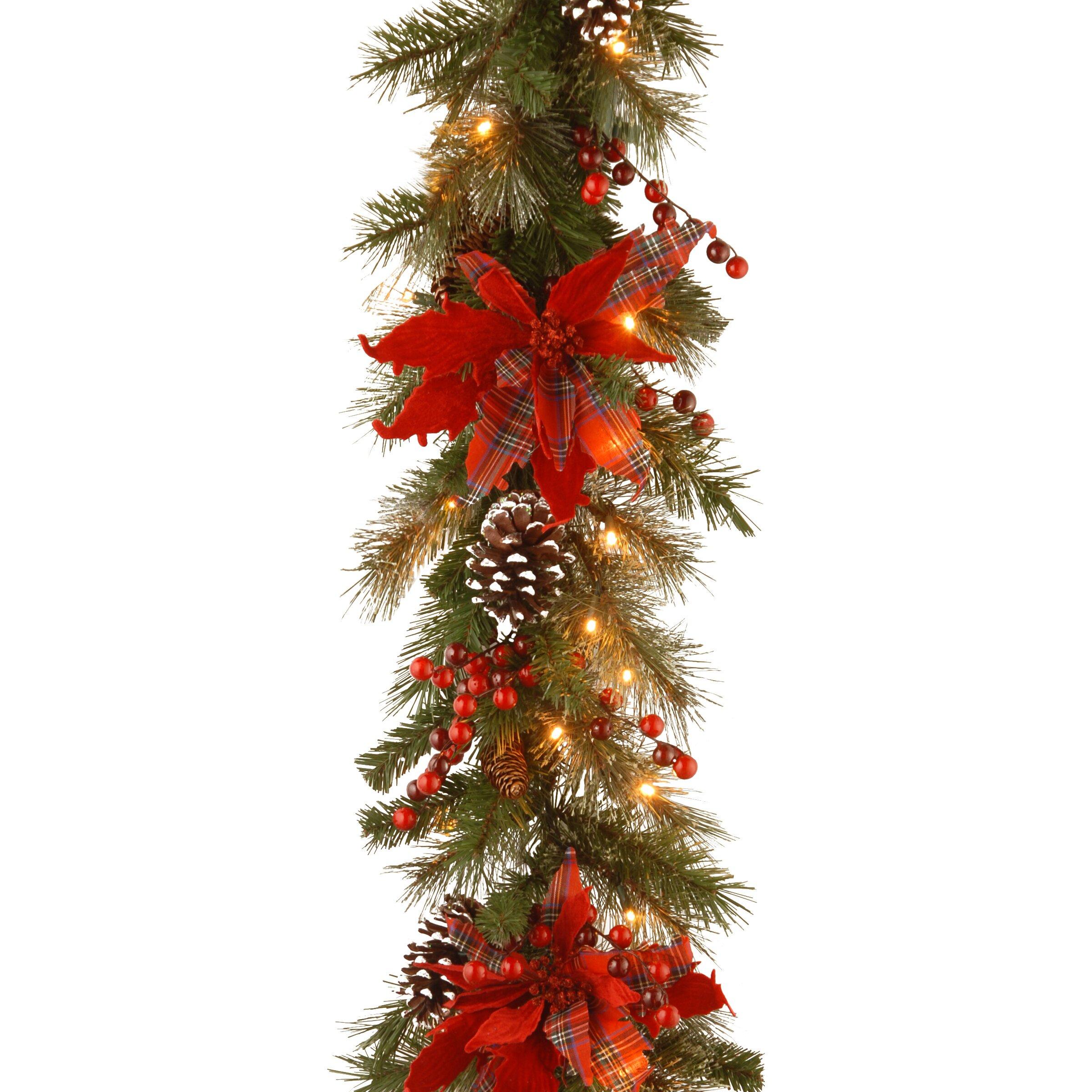 national tree co decorative pre lit tartan plaid garland reviews wayfair. Black Bedroom Furniture Sets. Home Design Ideas