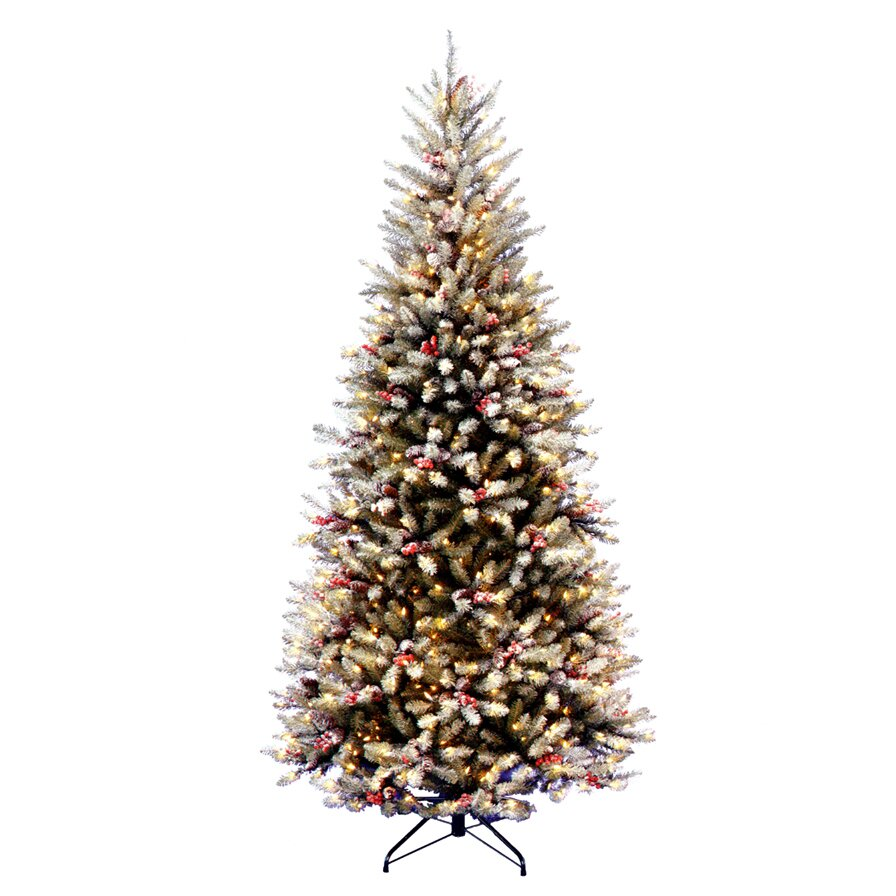 National Tree Co. Dunhill Fir Pre-Lit 7.5' Slim Artificial ...
