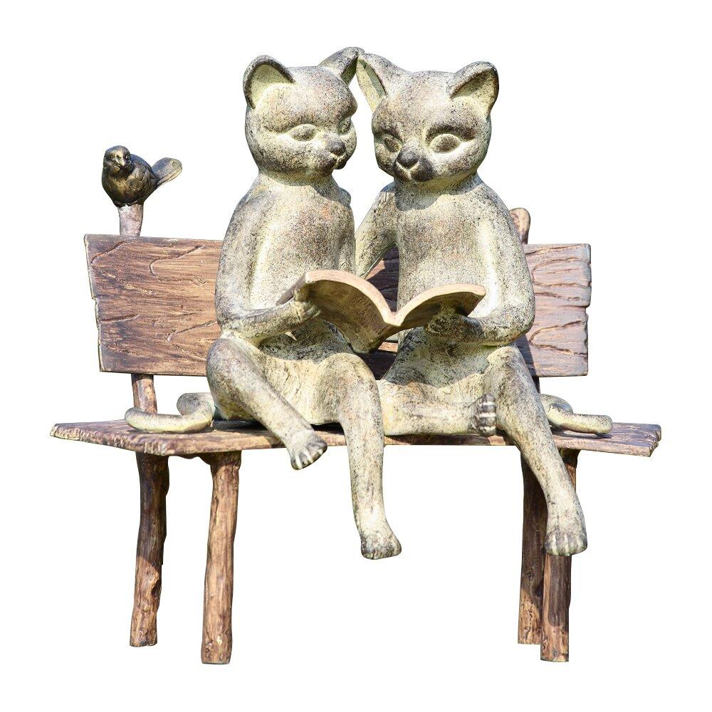 Wayfair Garden Statues: SPI Home Reading Cat On Bench Garden Statue & Reviews