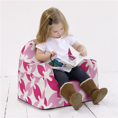 P 39 kolino little reader pink leaves personalized kids foam for Toddler foam chair