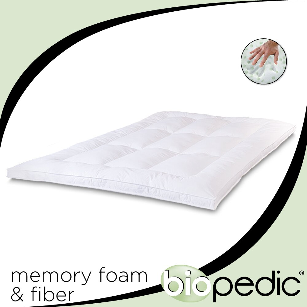 "Biopedic Mattress Topper BioPEDIC 1.5"" Memory Plus Classic Memory Foam & Fibre Mattress Topper ..."
