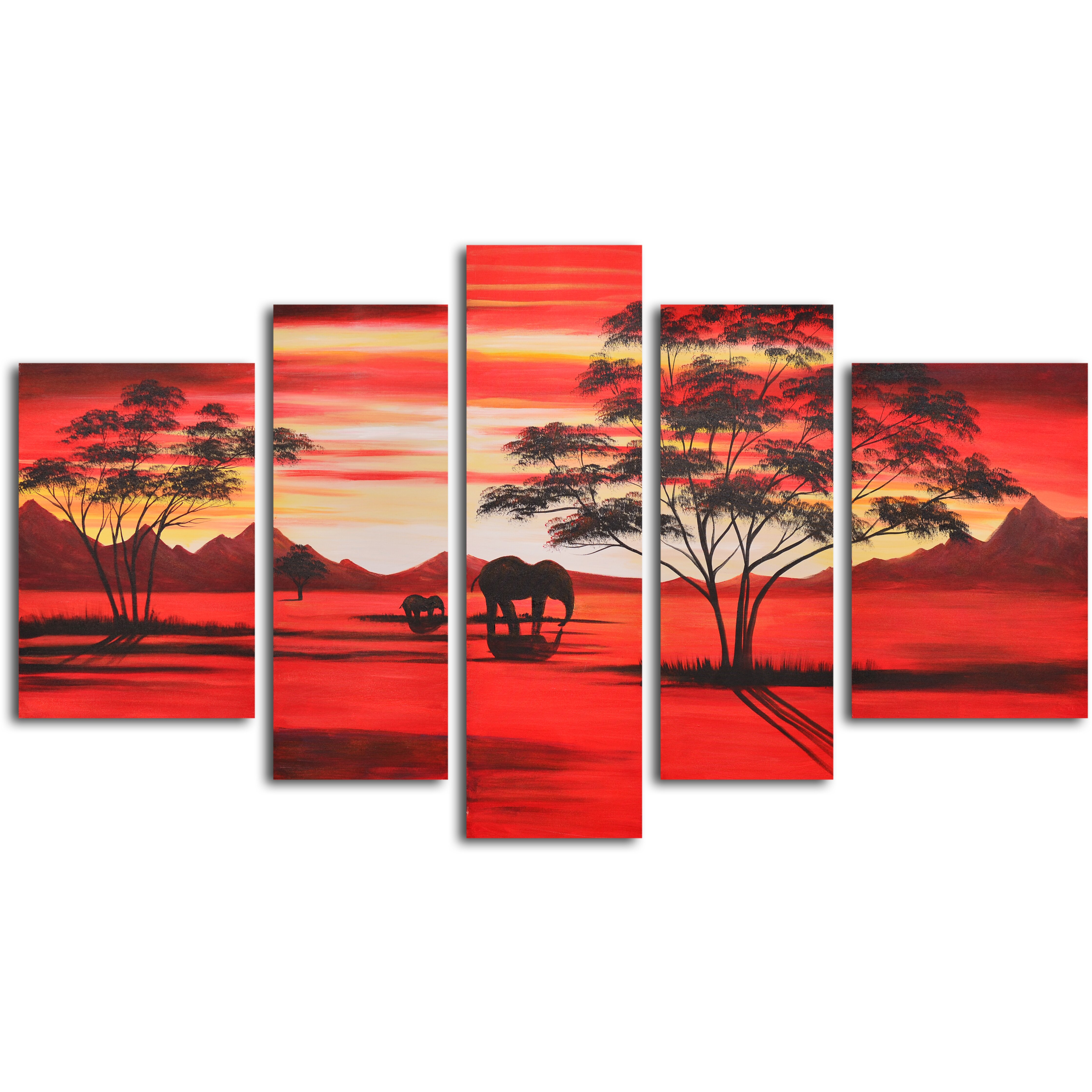 my art outlet african sunset 5 piece original painting on wrapped canvas set reviews wayfair. Black Bedroom Furniture Sets. Home Design Ideas