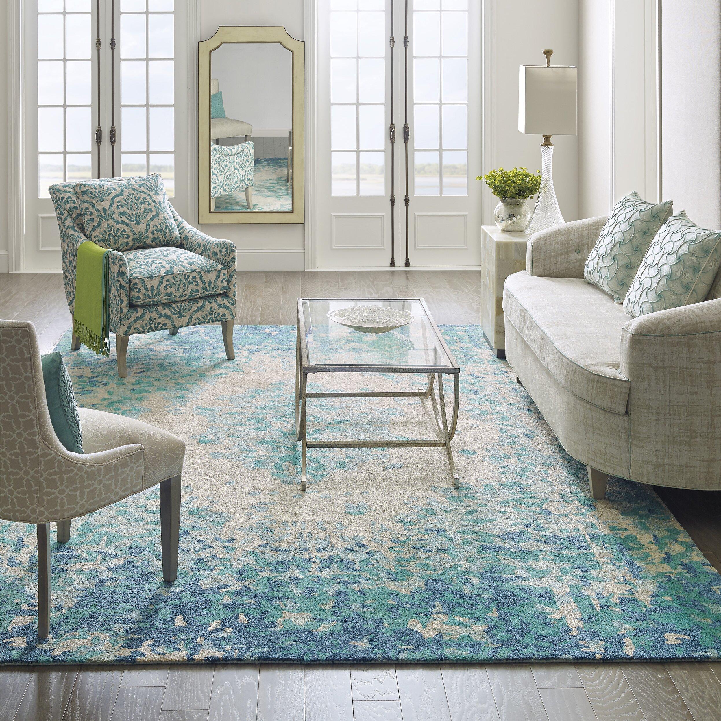 Company c looking glass hand tufted lake indoor area rug - Living room area rug ideas ...