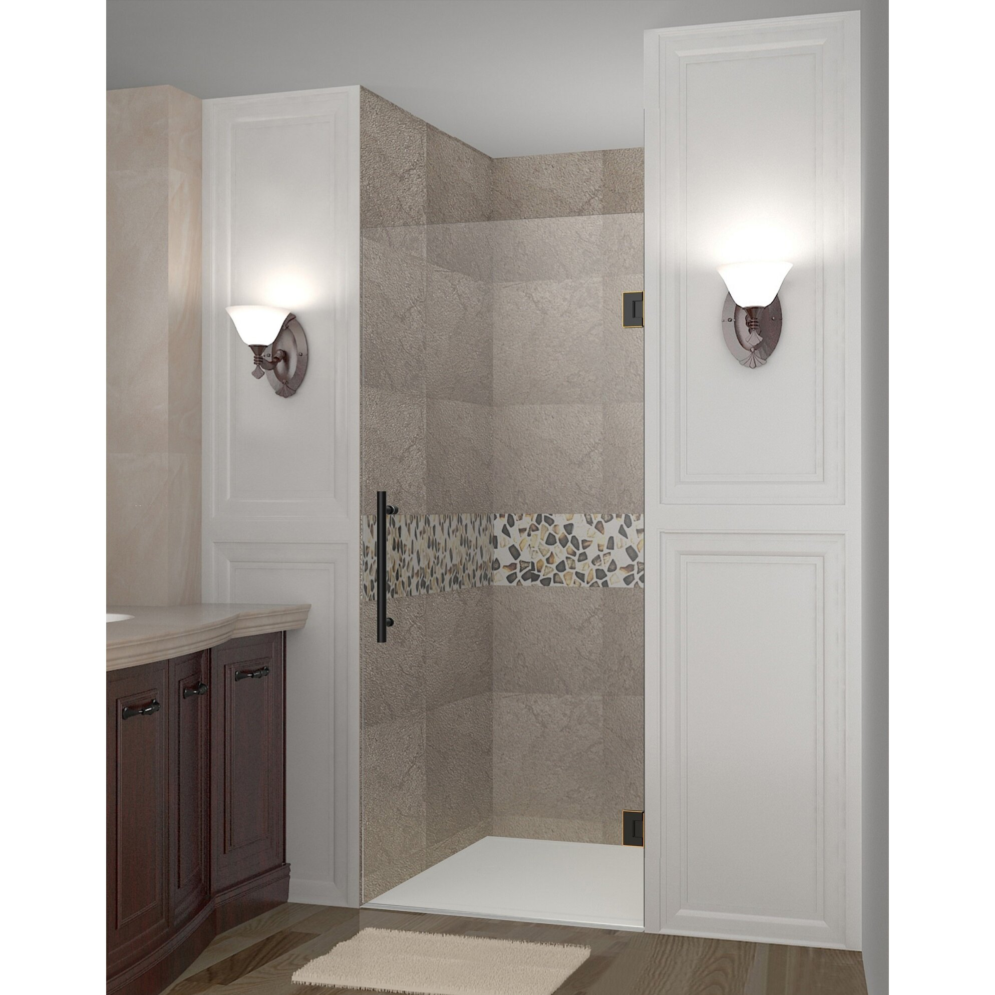aston cascadia 24 x 72 hinged completely frameless single panel shower door wayfair. Black Bedroom Furniture Sets. Home Design Ideas