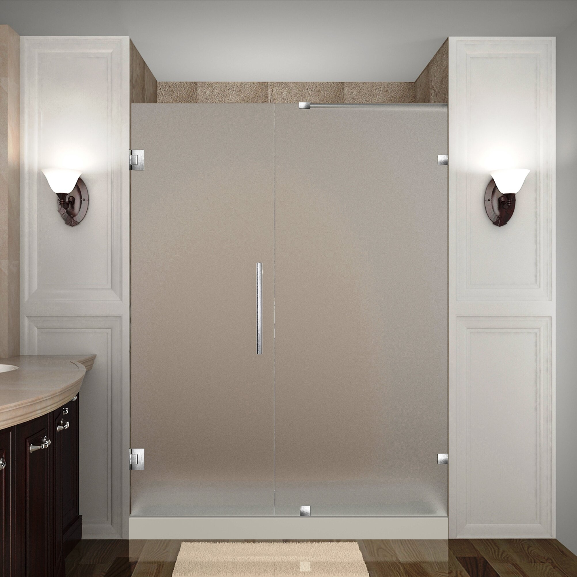 "Aston Nautis 72"" X 58"" Completely Frameless Hinged Shower Door, Frosted Glass"