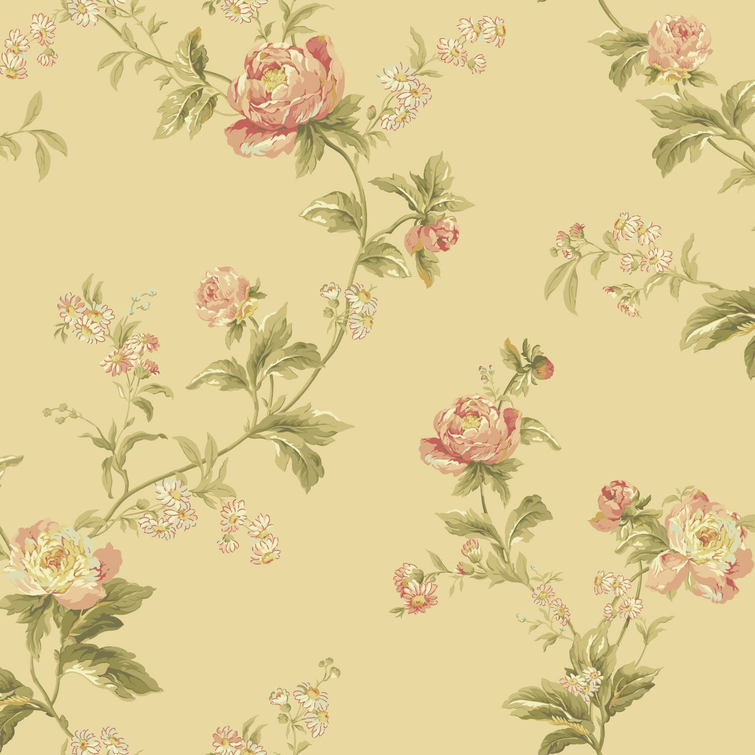 York wallcoverings waverly forever yours trail 33 39 x 20 5 for Waverly wallpaper