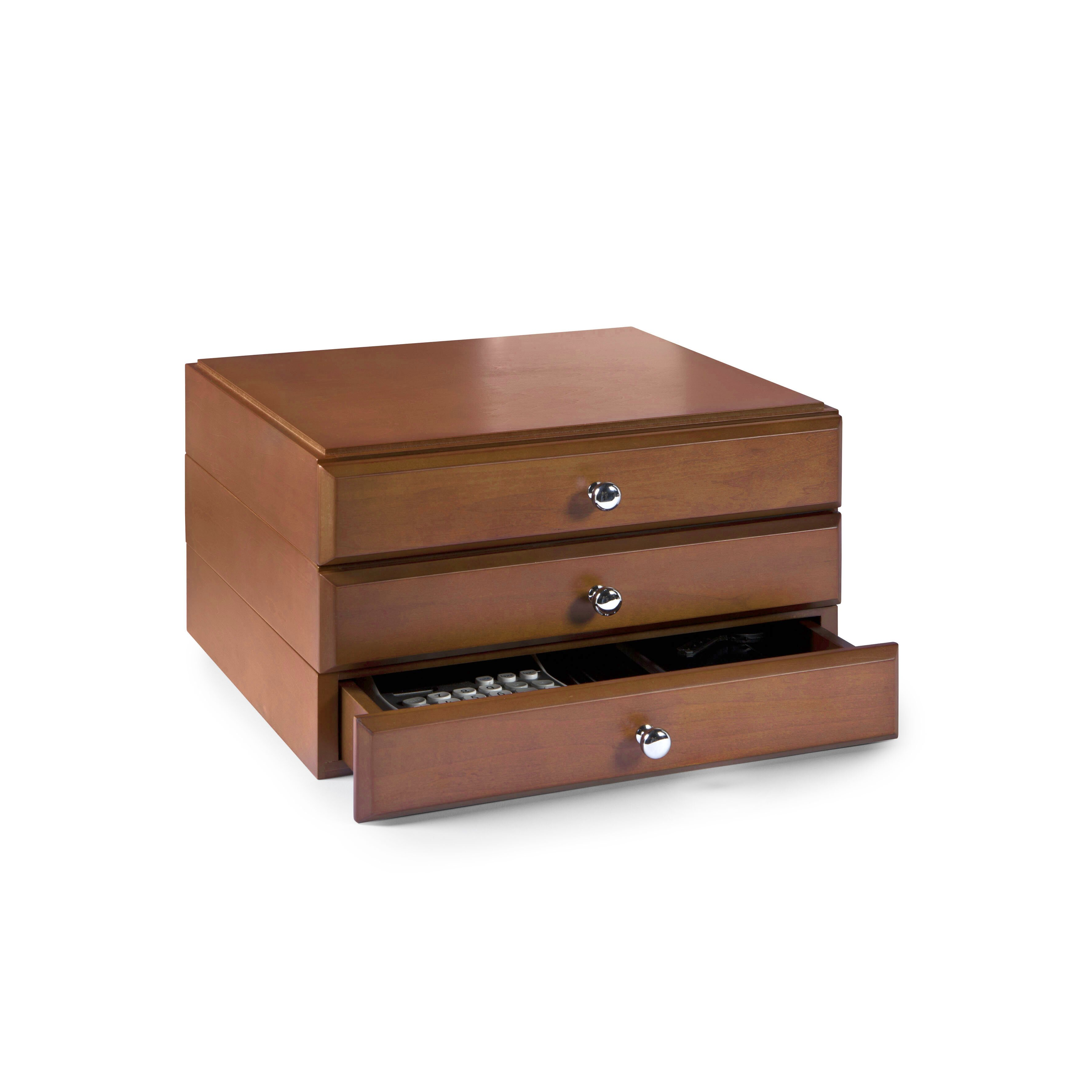 Bindertek Stacking Wood Desk Organizers 3 Supply Drawer