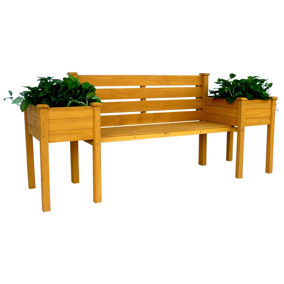 Leisure Season Wood Planter Bench Wayfair
