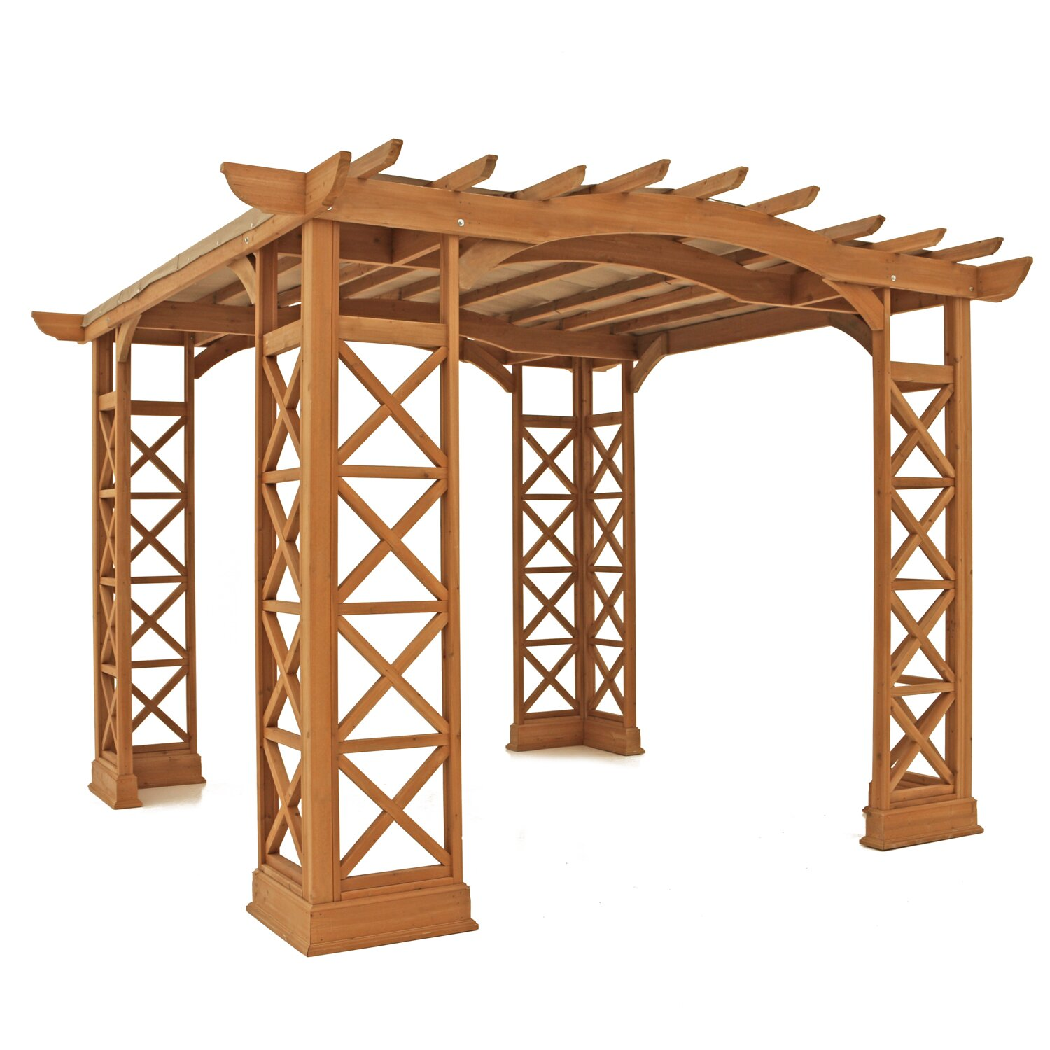 yardistry arched roof 8 2 ft h x 12 ft w x 12 ft d pergola reviews. Black Bedroom Furniture Sets. Home Design Ideas