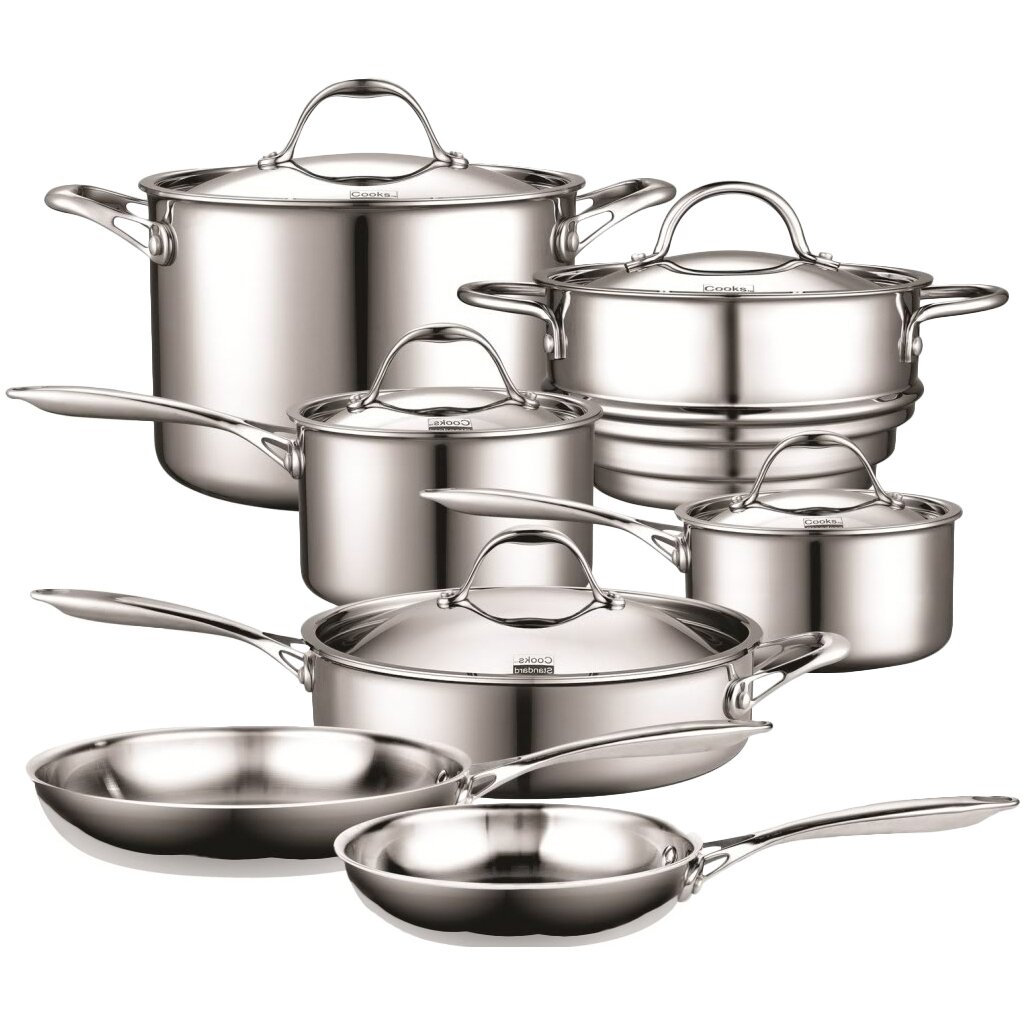 Cooks Standard 12 Piece Multi Ply Clad Stainless Steel  : Cooks Standard Stainless Steel 12 Piece Cookware Set NC 00232 from www.wayfair.com size 1023 x 1023 jpeg 141kB