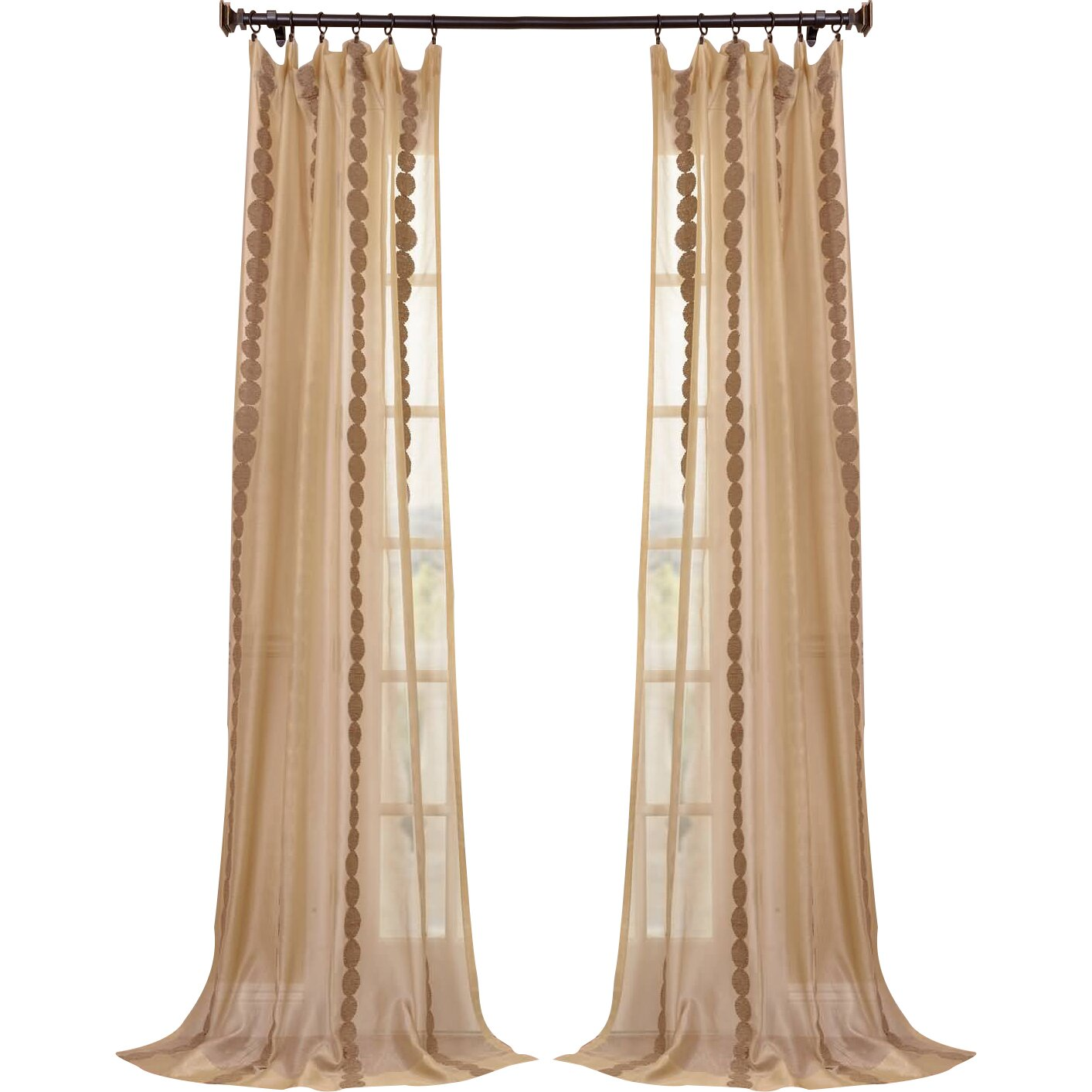 Half Price Drapes Cleopatra Embroidered Sheer Single Curtain Panel Reviews