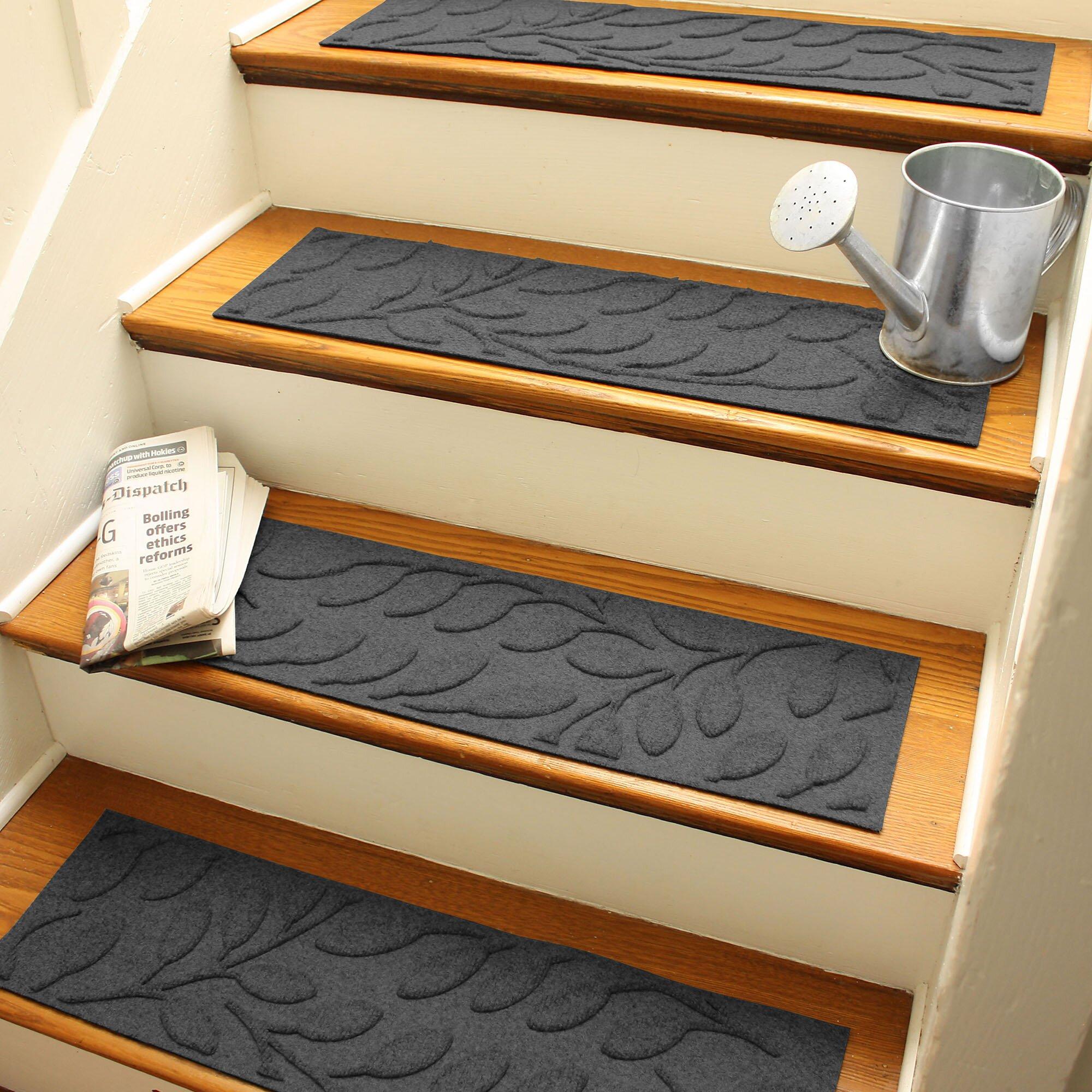 Bungalow Flooring Aqua Shield Charcoal Brittany Leaf Stair