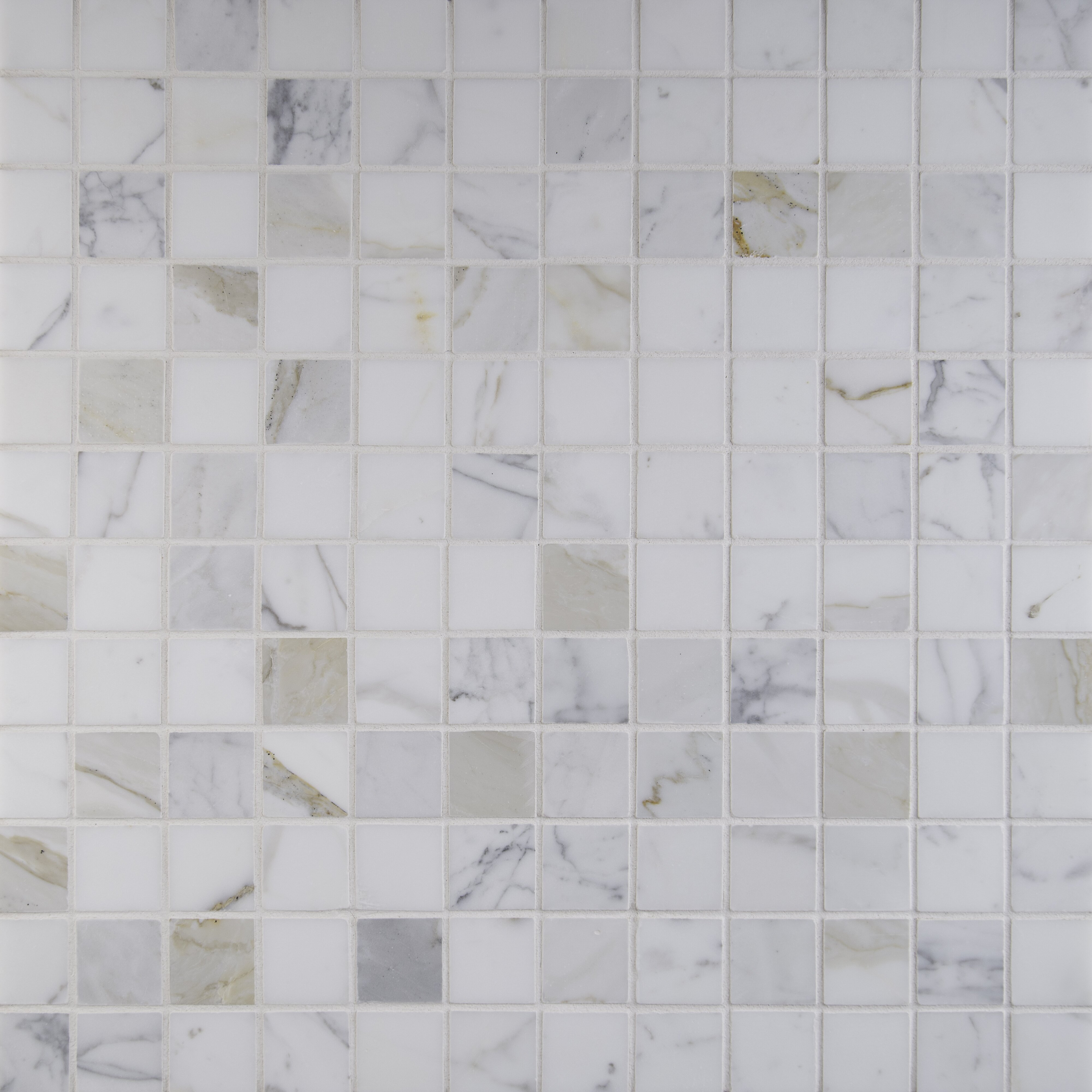 """MSI Calacatta Gold Mounted 2"""" x 2"""" Marble Mosaic Tile in"""