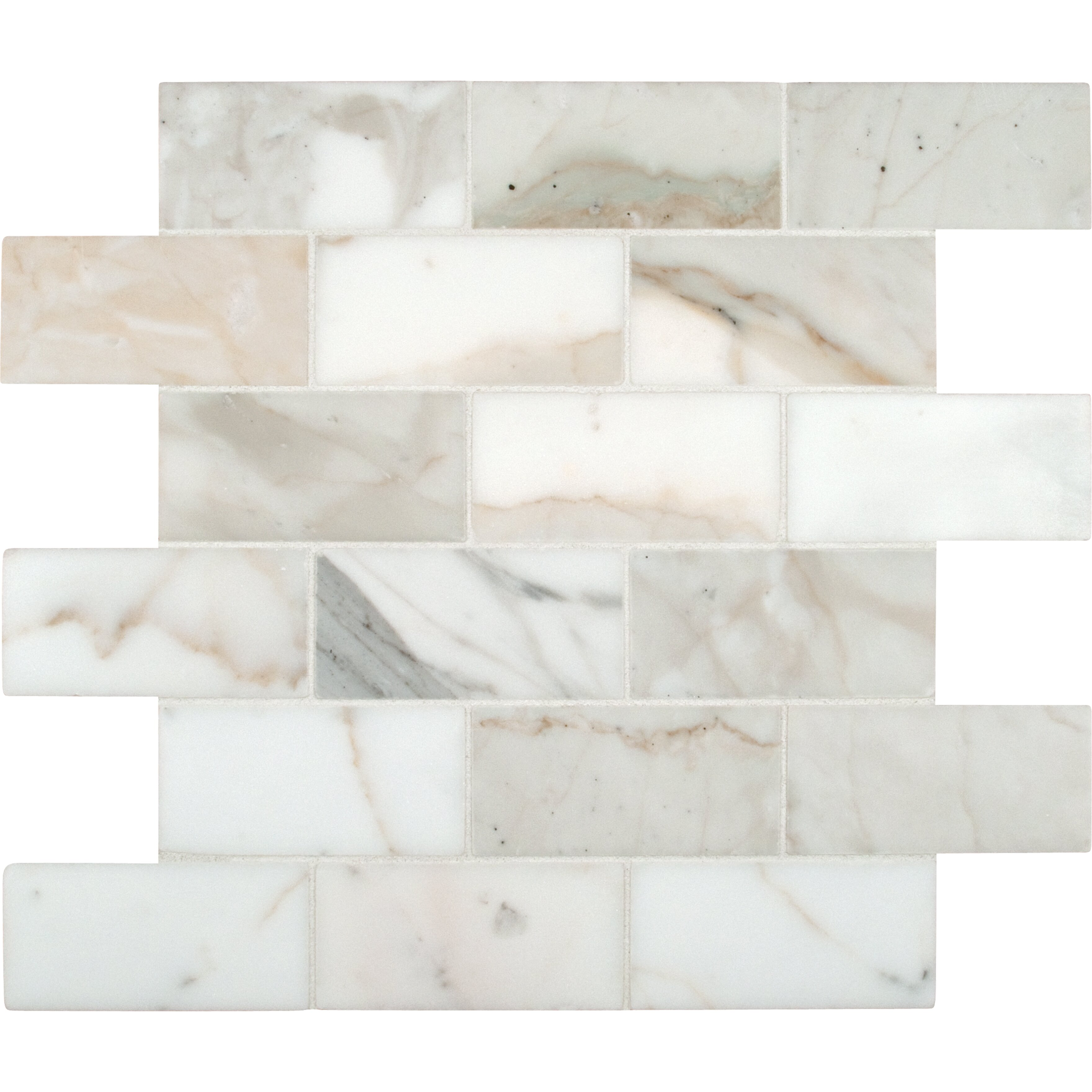 Msi Calacatta Gold Mounted 2 X 4 Marble Subway Tile In