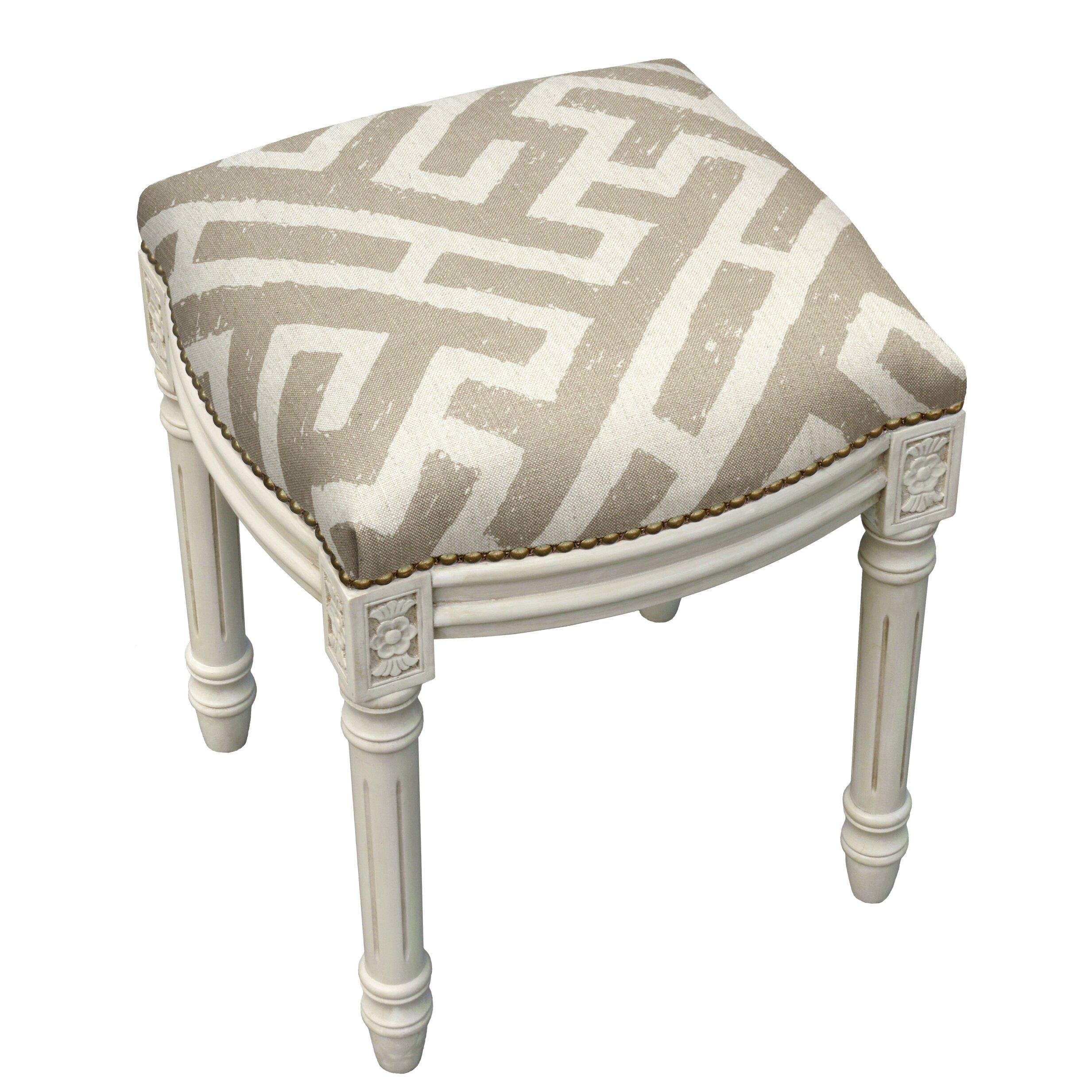 123 Creations Graphic Lattice Linen Upholstered Vanity