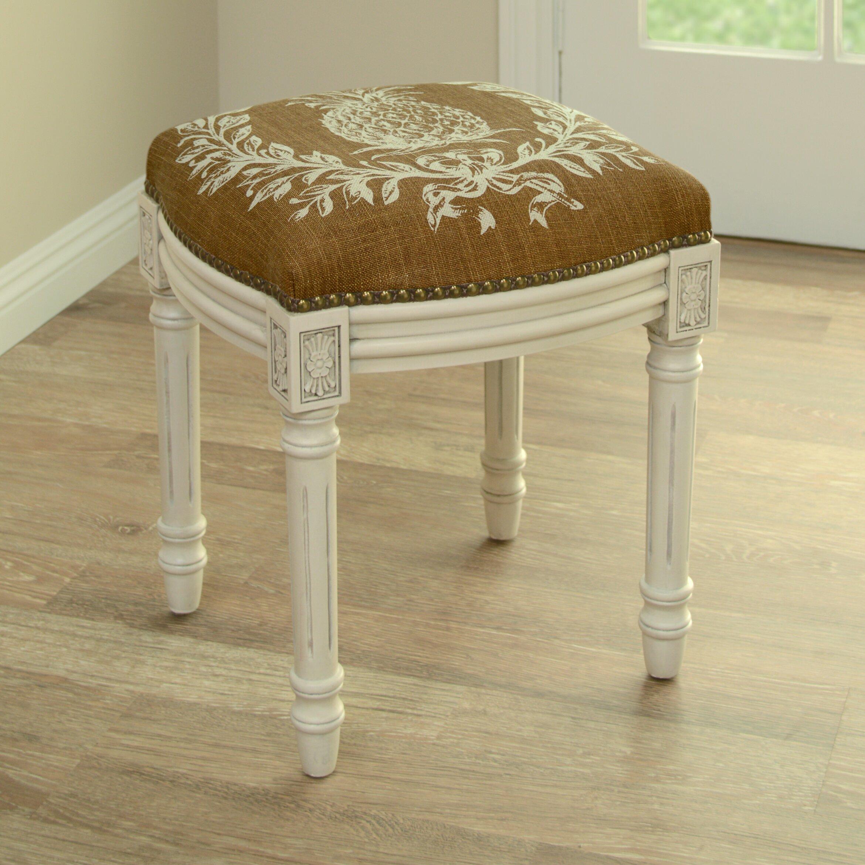 123 Creations Pineapple Linen Upholstered Vanity Stool