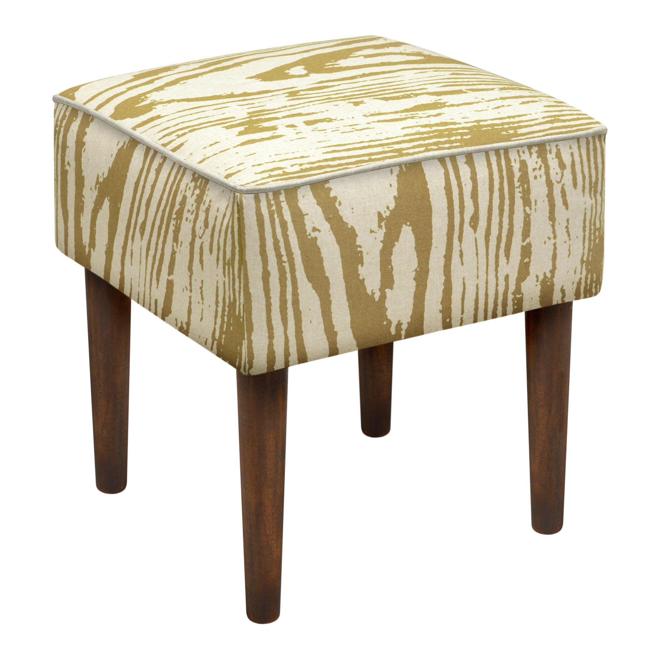 123 Creations Faux Bois Upholstered Vanity Stool Wayfair