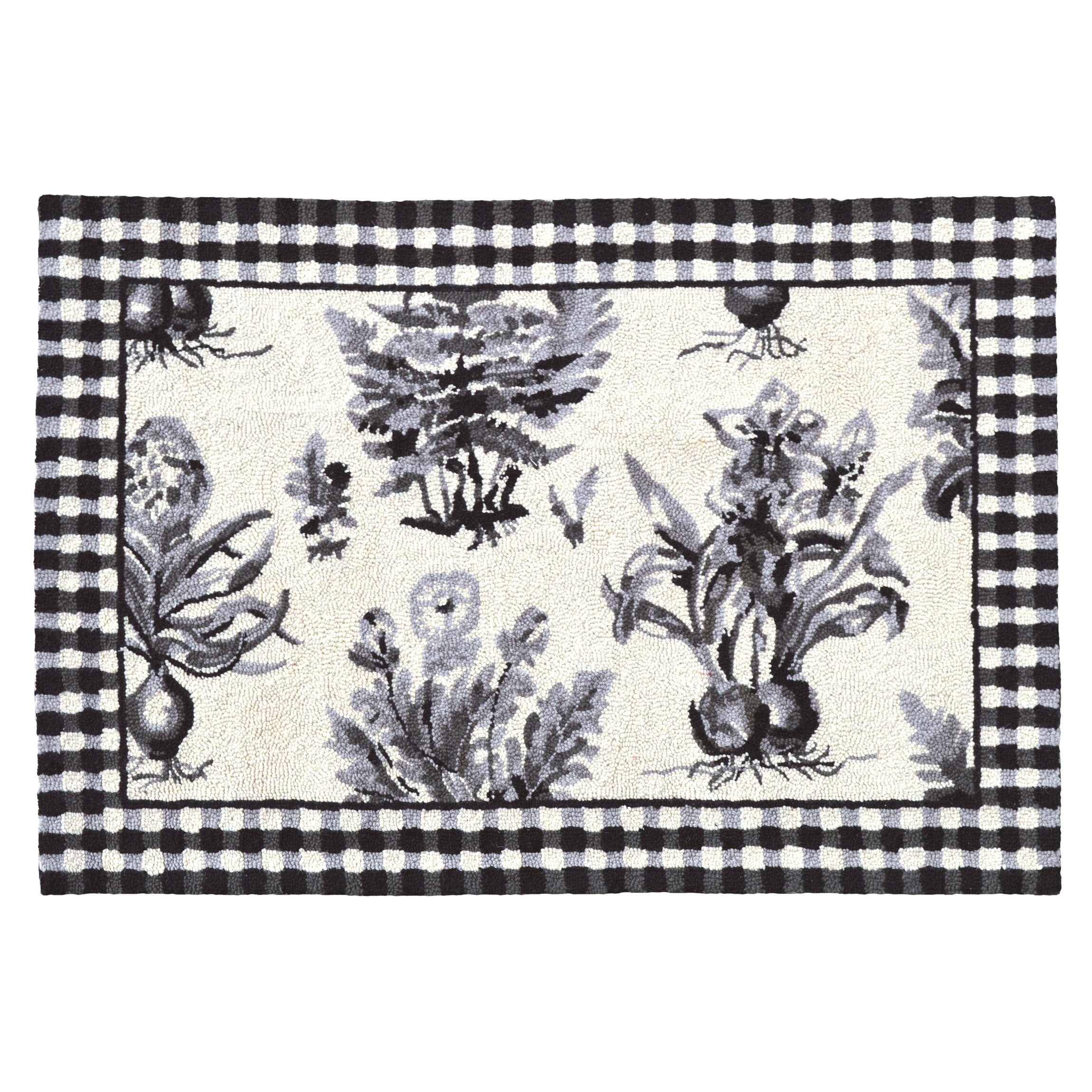123 Creations Floral Botanical Hook Black White Area Rug