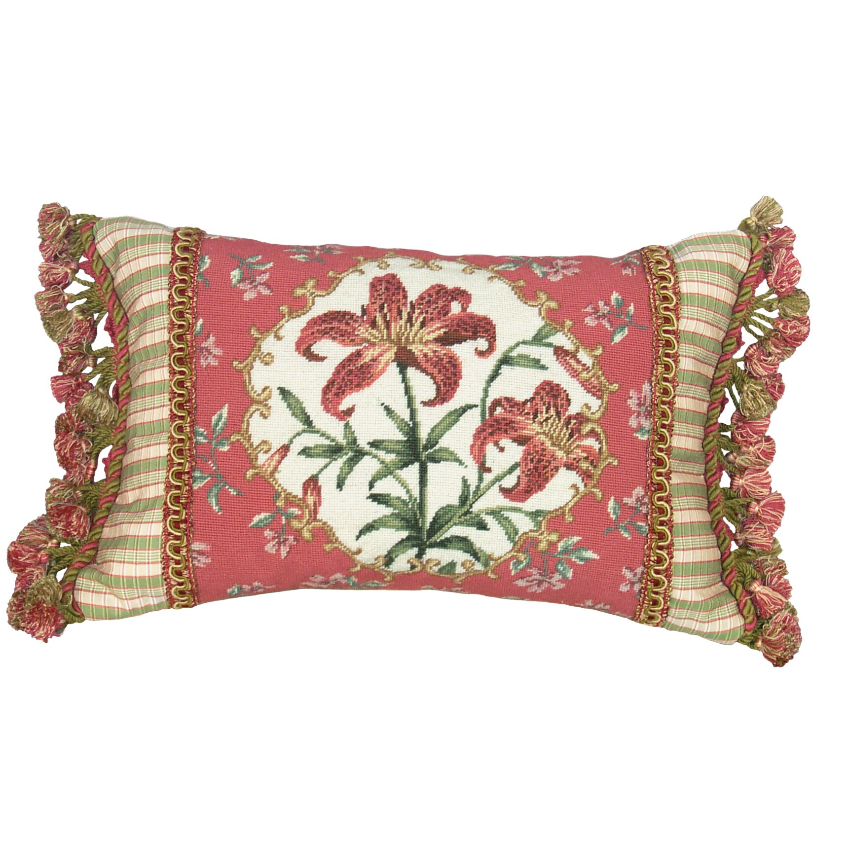 123 Creations Floral Tiger Lily Petit Point Wool Lumbar