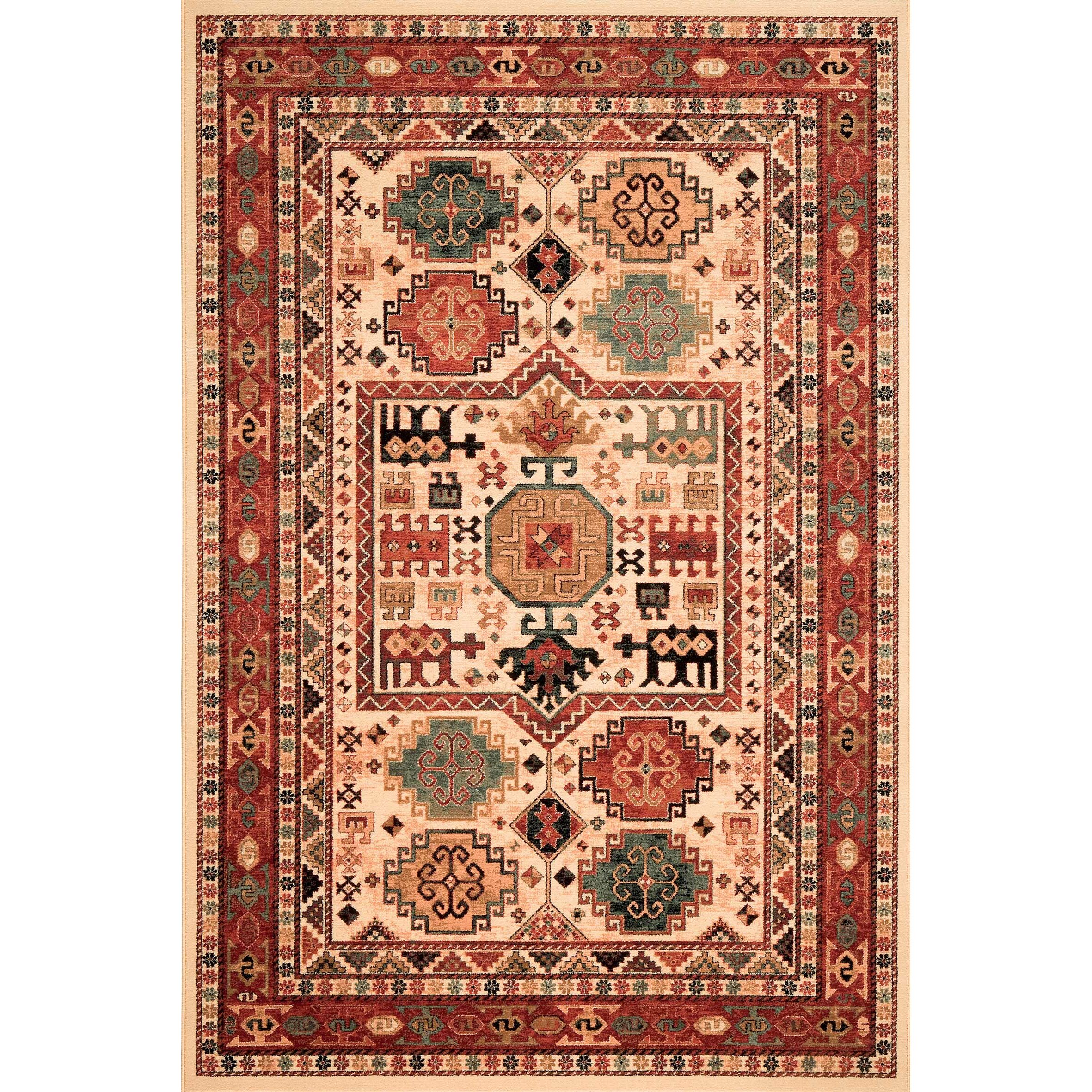Mastercraft rugs kashqai cream red area rug wayfair uk for Cream and red rugs