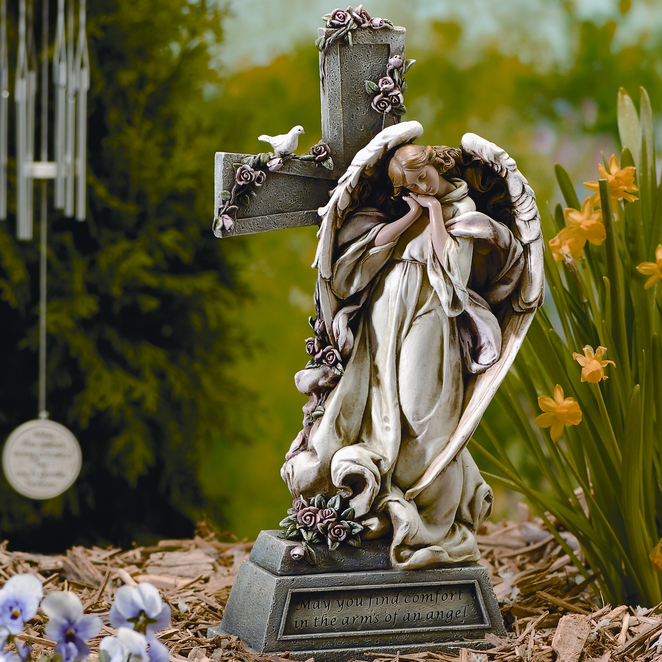 Wayfair Garden Statues: Roman, Inc. Garden Angel With Cross Statue & Reviews