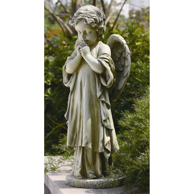 roman inc young praying angel garden statue reviews wayfair. Black Bedroom Furniture Sets. Home Design Ideas