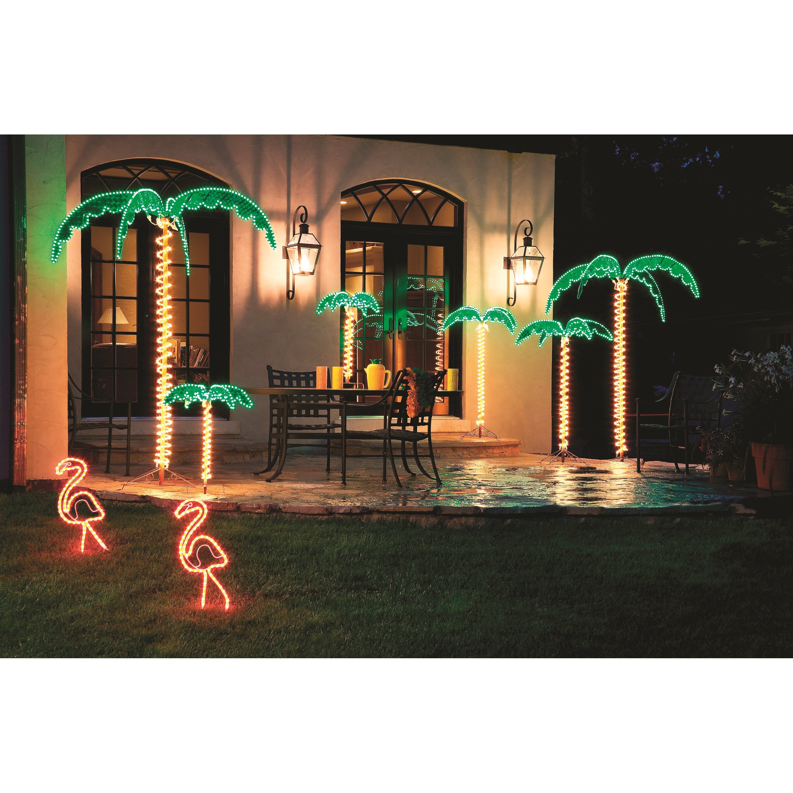 Roman inc tropical lighted holographic rope light for Outdoor lighted decorations