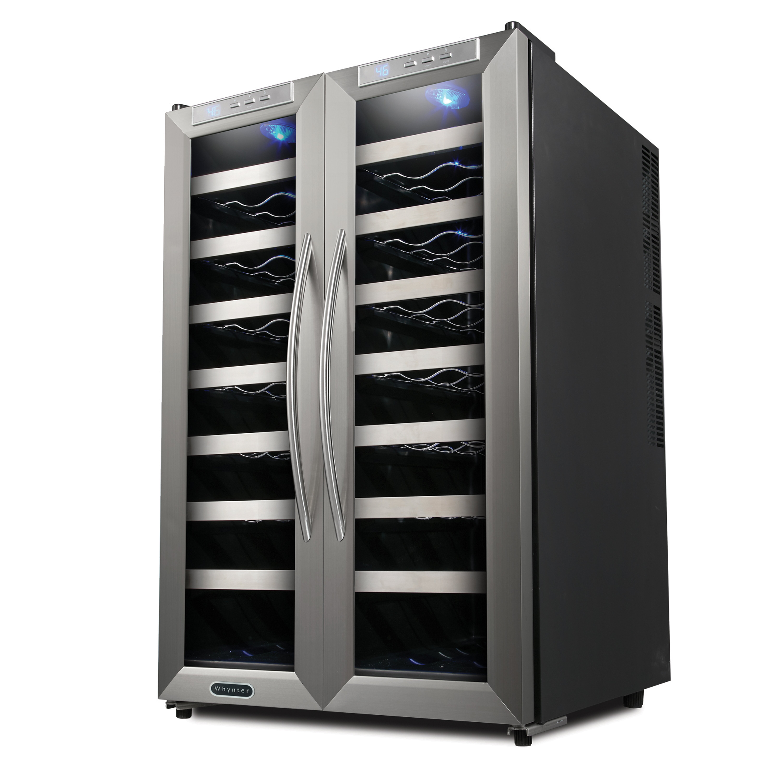 whynter 32 bottle dual zone freestanding wine refrigerator reviews wayfair. Black Bedroom Furniture Sets. Home Design Ideas