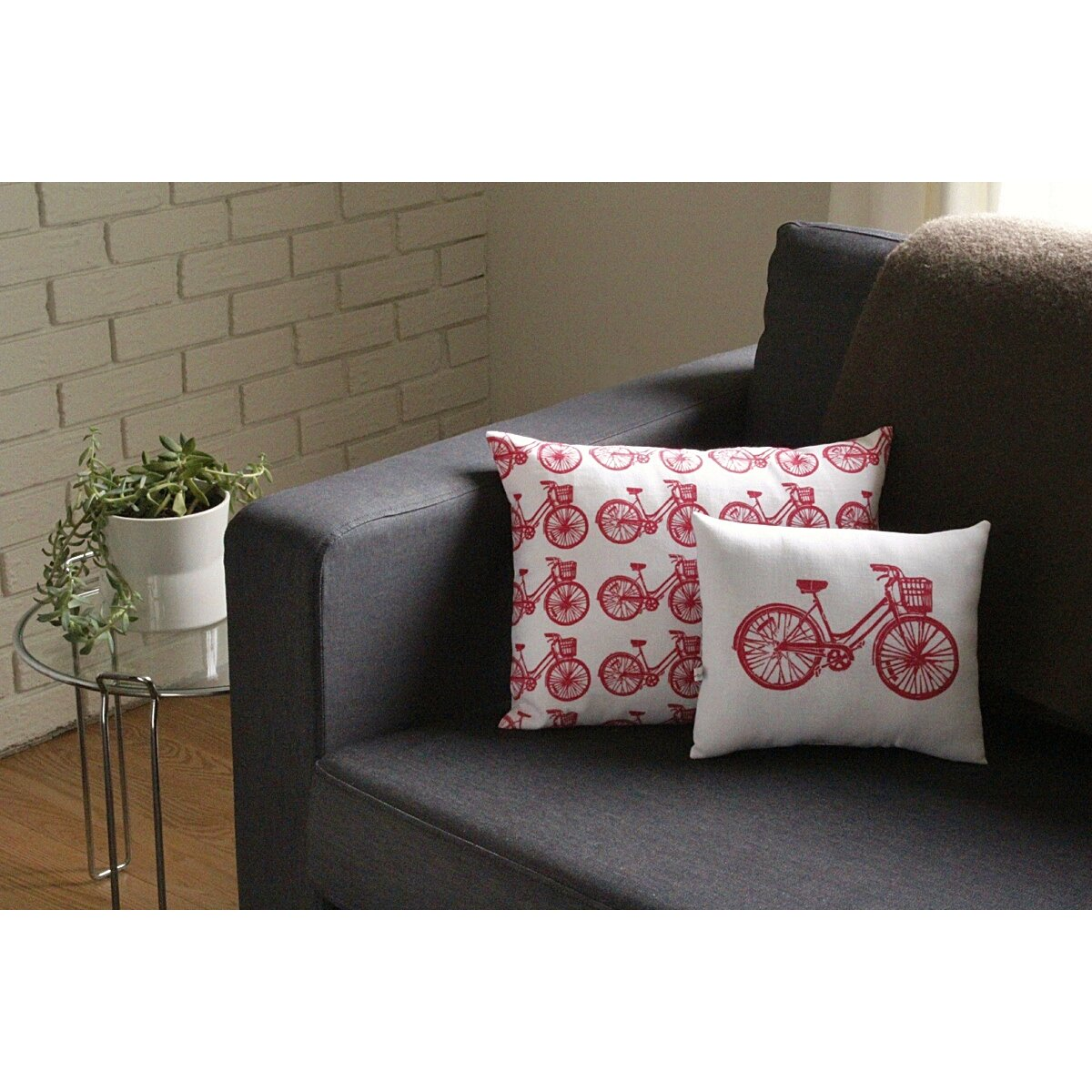 Bicycle Print Throw Pillow : Artgoodies Bike All Over Pattern Block Print Accent Cotton Throw Pillow & Reviews Wayfair