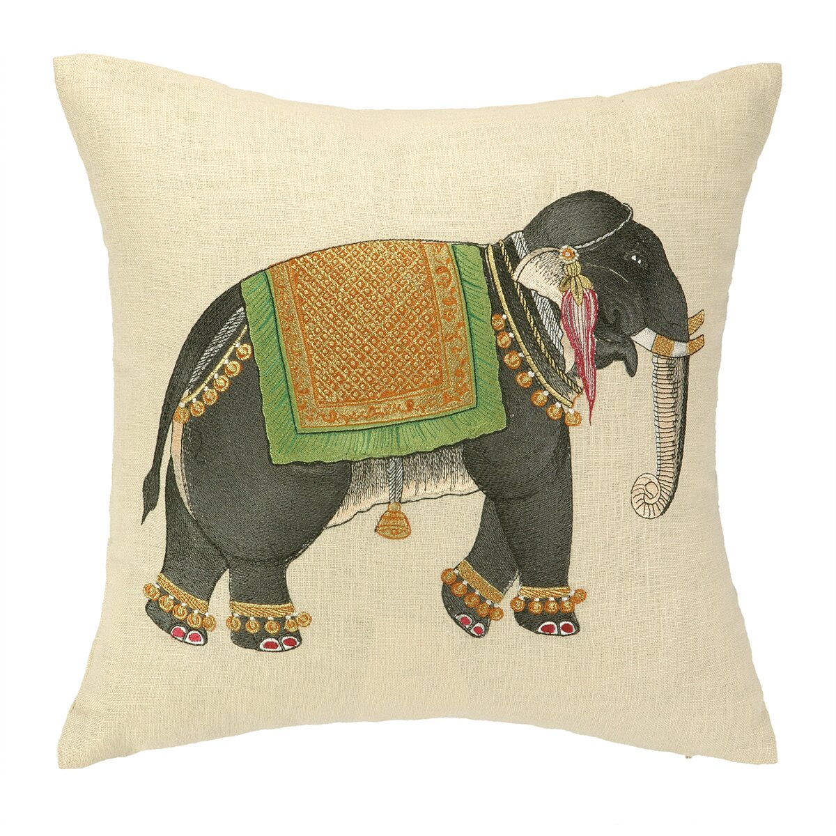 Decorative Linen Pillows : D.L. Rhein Mumbai Elephant Embroidered Decorative Linen Throw Pillow & Reviews Wayfair