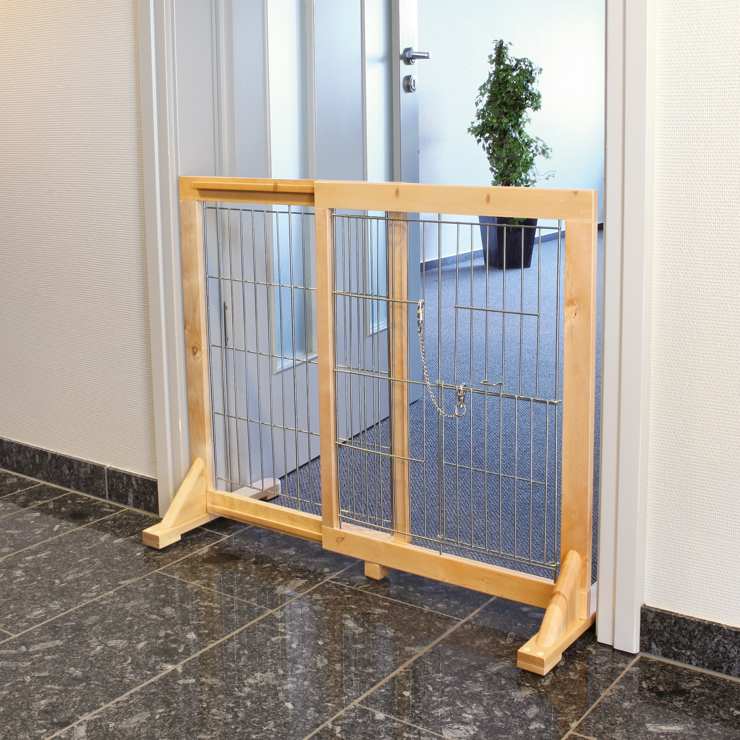Trixie free standing barrier with walk thru pet door dog for Free standing fence diy