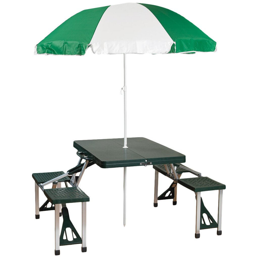 Stansport picnic table with umbrella reviews wayfair for 10 person picnic table