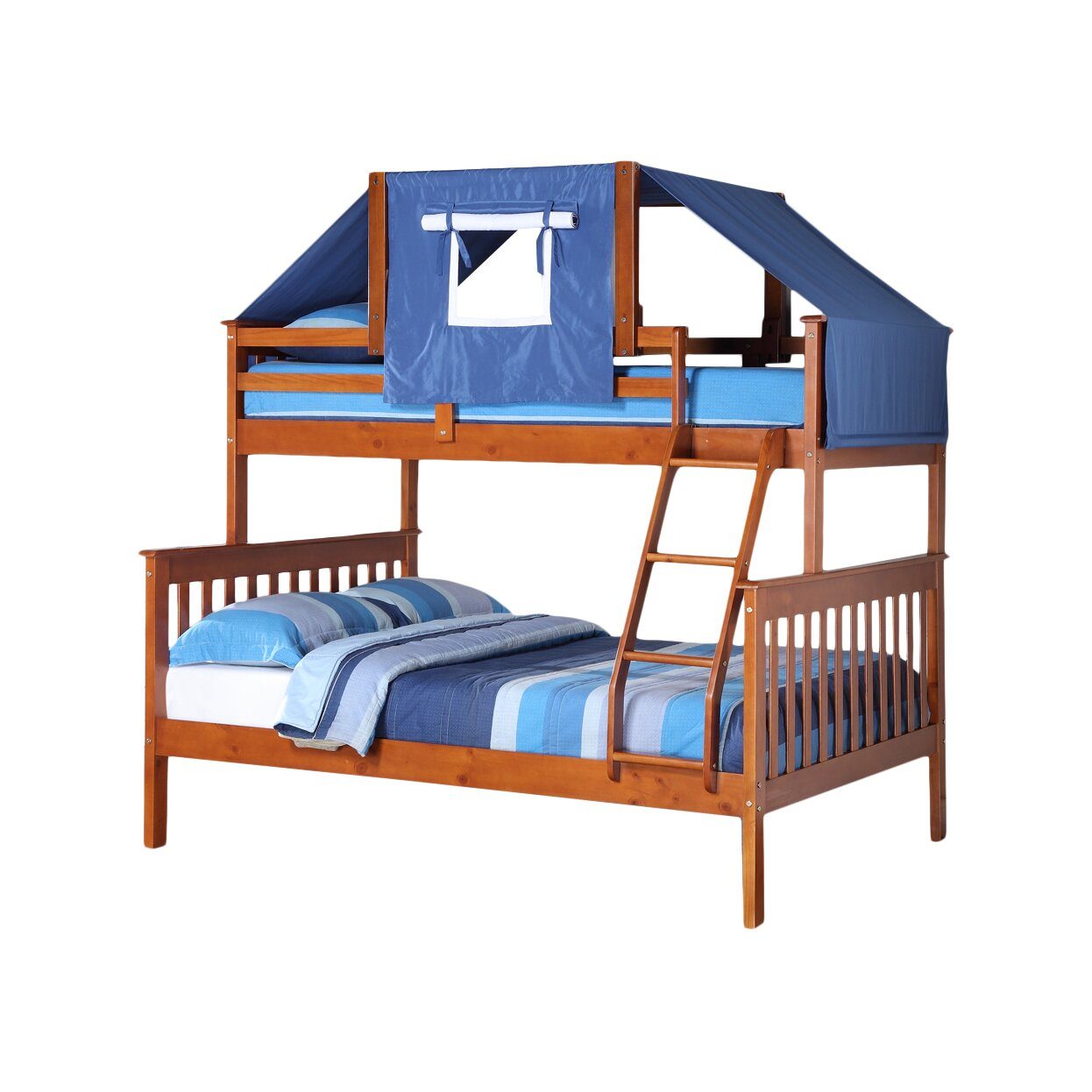 Donco kids donco kids twin over full futon bunk bed for Twin bed over futon