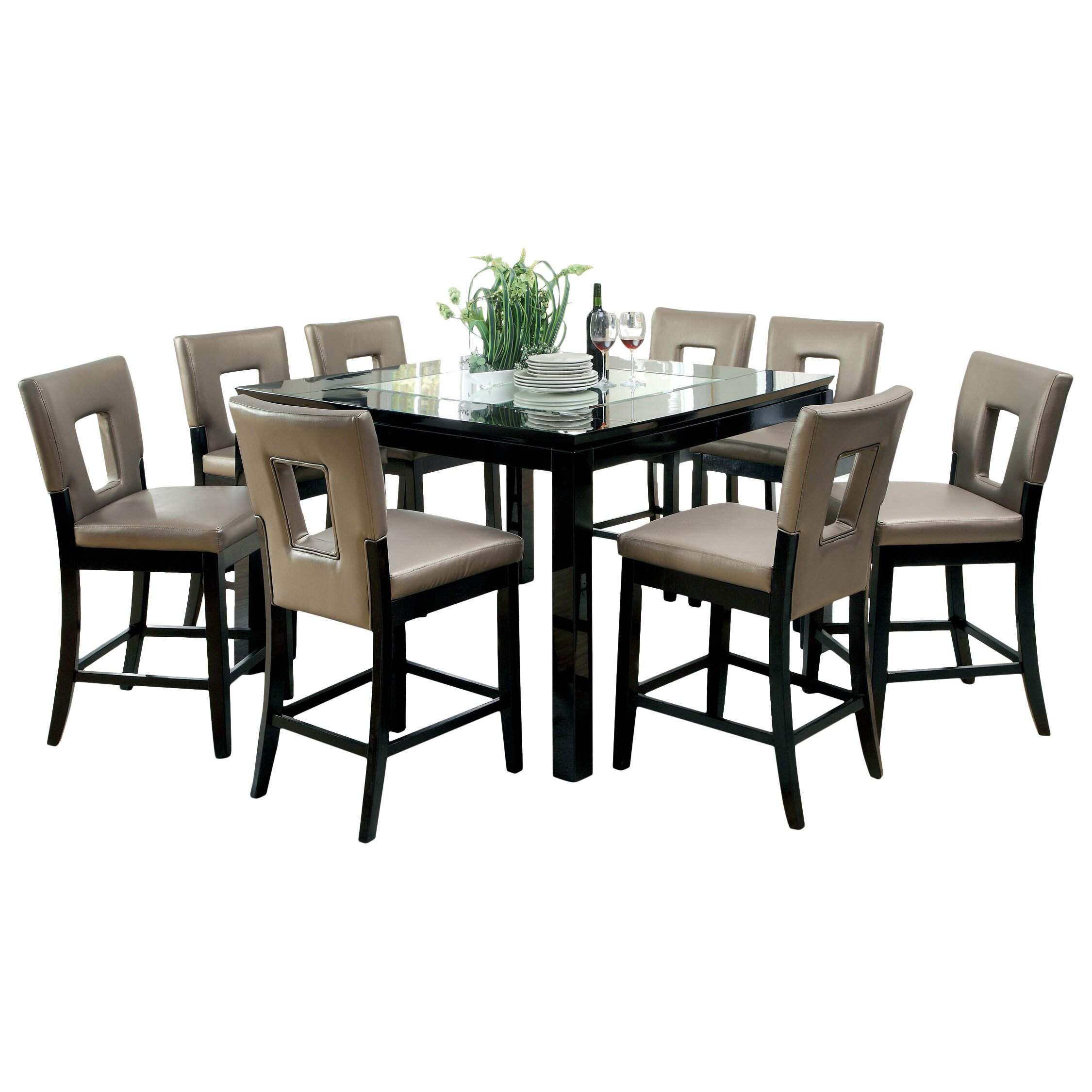 9 piece counter height dining room sets dining tables 7 for Dining room furniture 9 piece