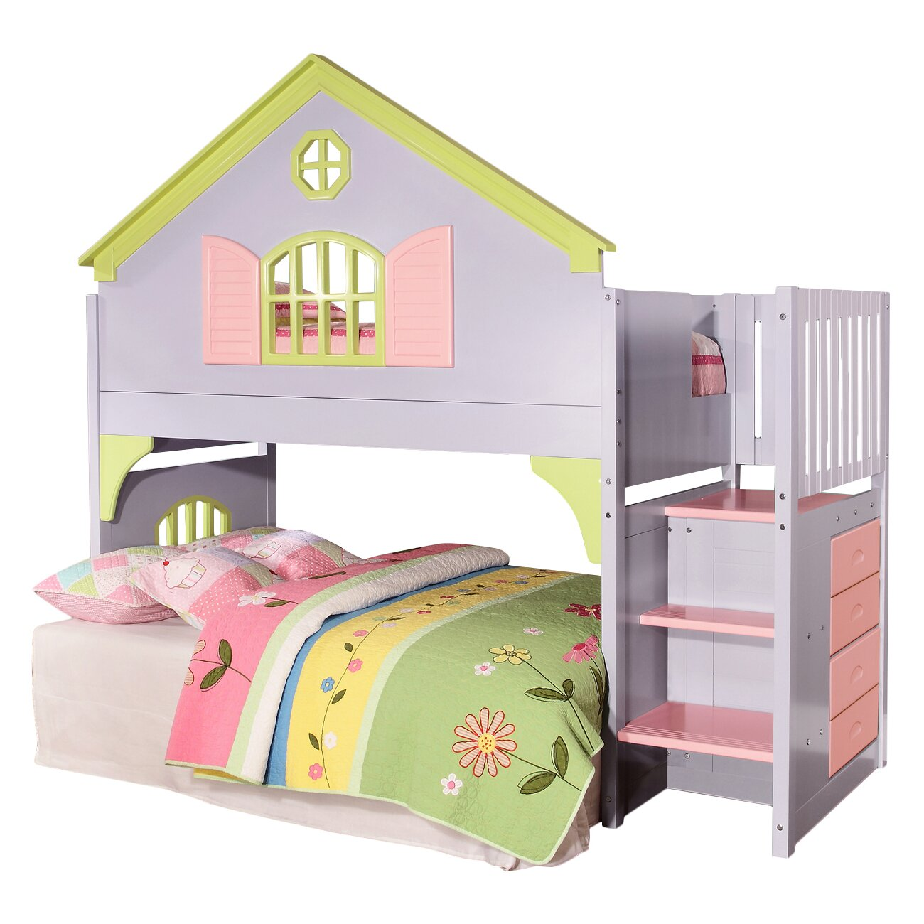 donco kids donco kids doll house twin loft bed reviews wayfair. Black Bedroom Furniture Sets. Home Design Ideas