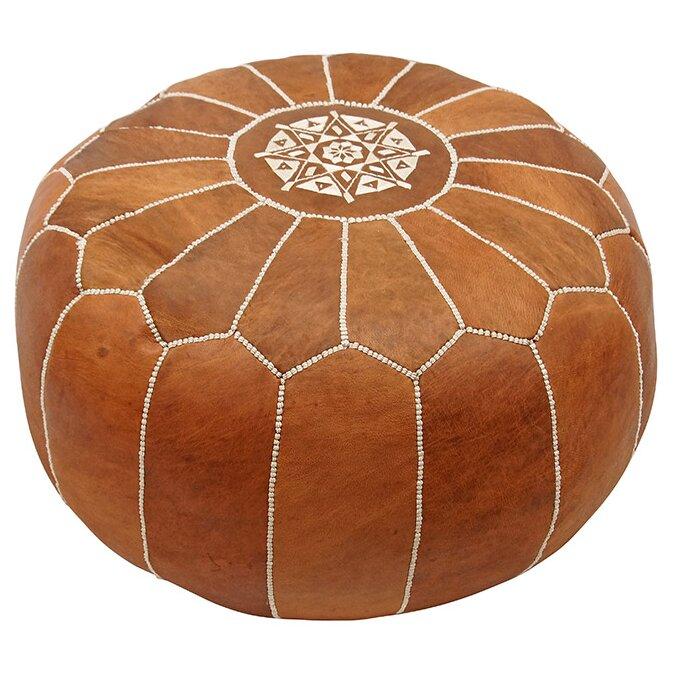 bungalow rose izaguirre leather pouf ottoman reviews wayfair. Black Bedroom Furniture Sets. Home Design Ideas