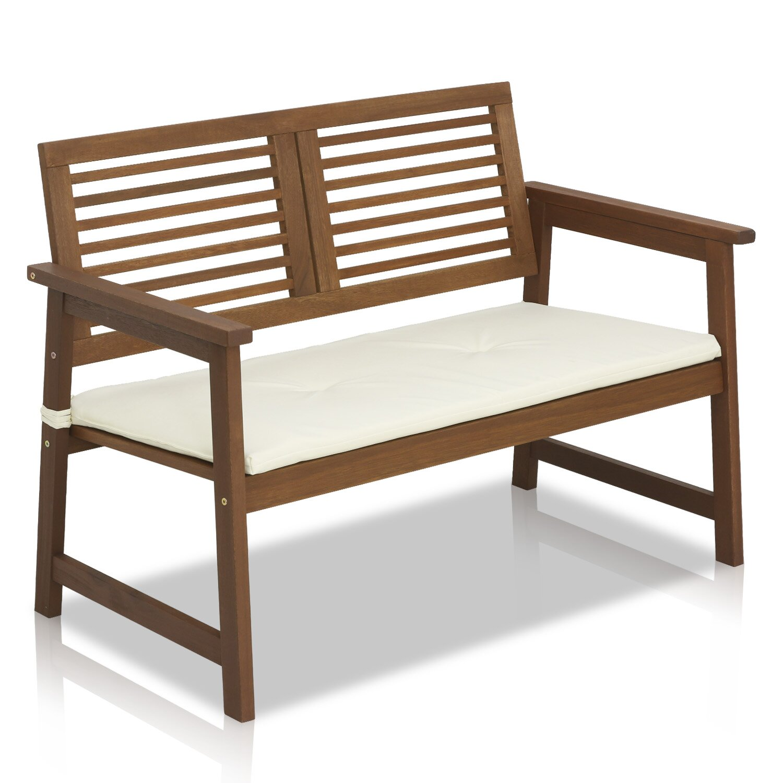 Furinno Tioman Teak Garden Bench With Cushion Reviews Wayfair