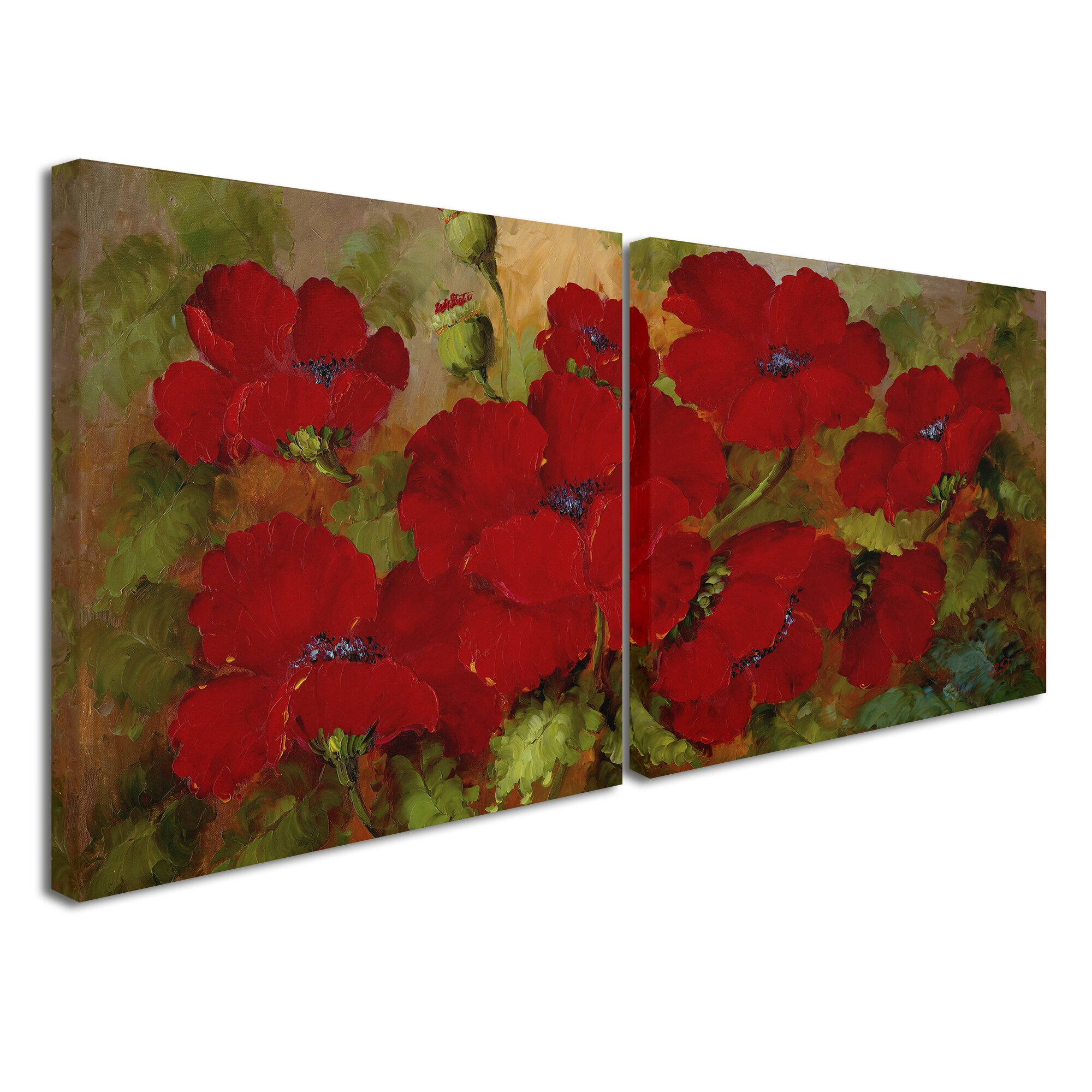 Trademark global red poppies wall art set reviews for Red wall art