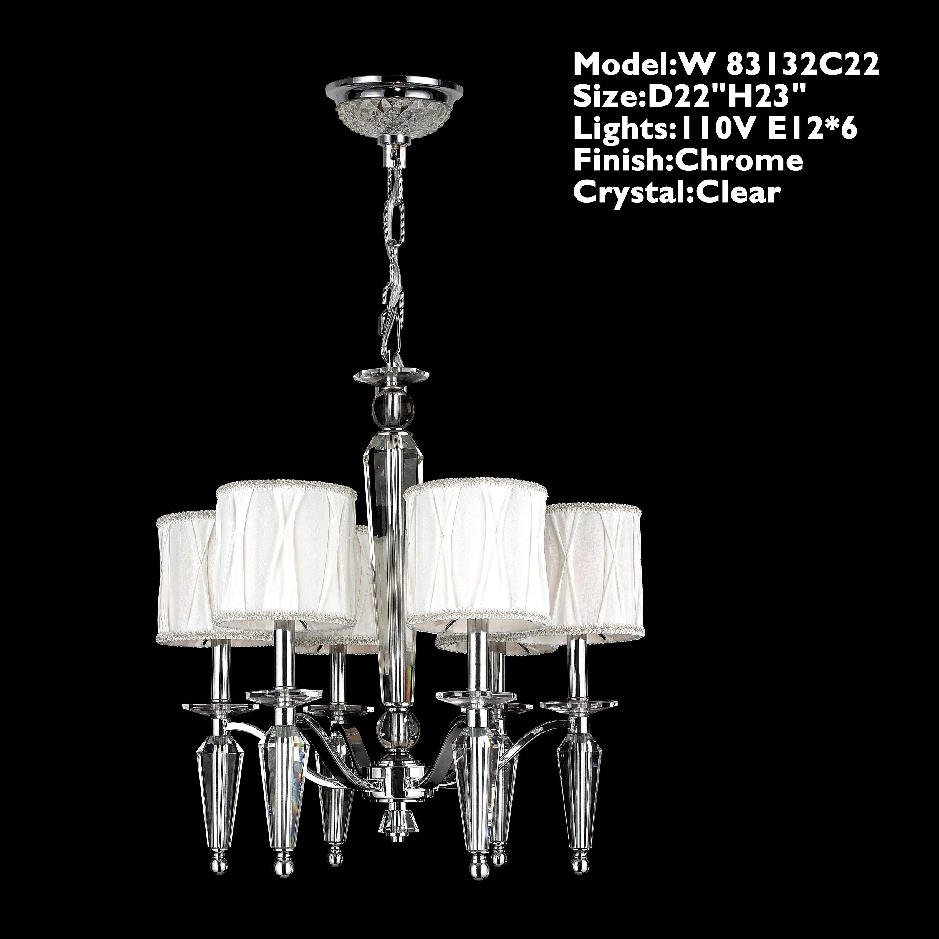 Worldwide lighting gastby 6 light crystal chandelier wayfair for 6 light crystal chandelier