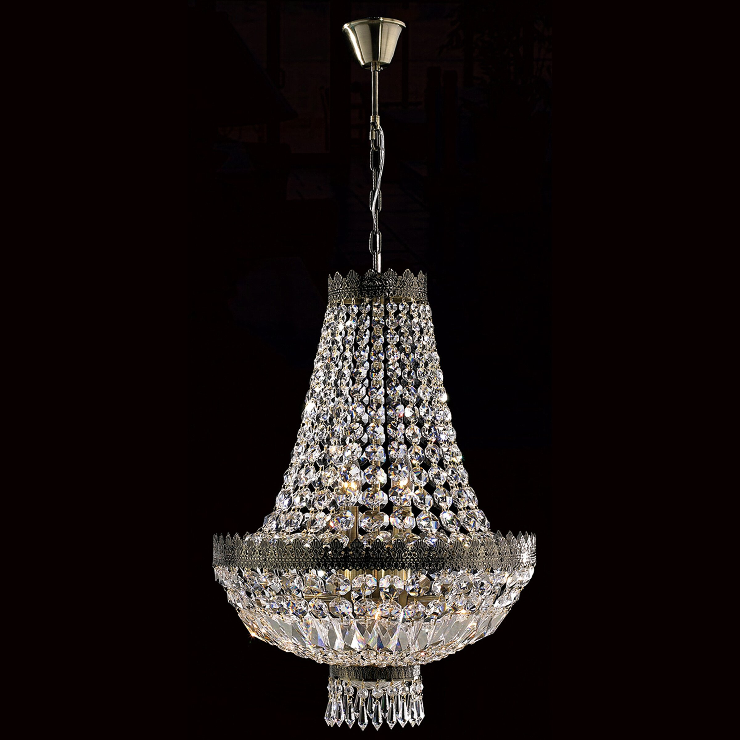 Worldwide Lighting Metropolitan 6 Light Crystal Chandelier