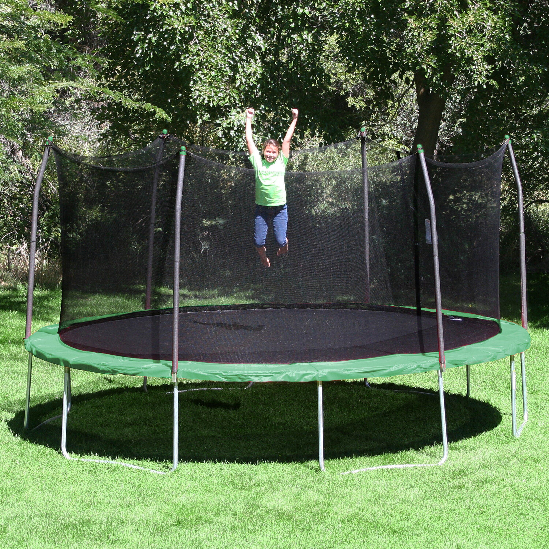 Skywalker 15 Ft Round Trampoline With Enclosure: Skywalker 17' X 15' Oval Trampoline With Safety Enclosure