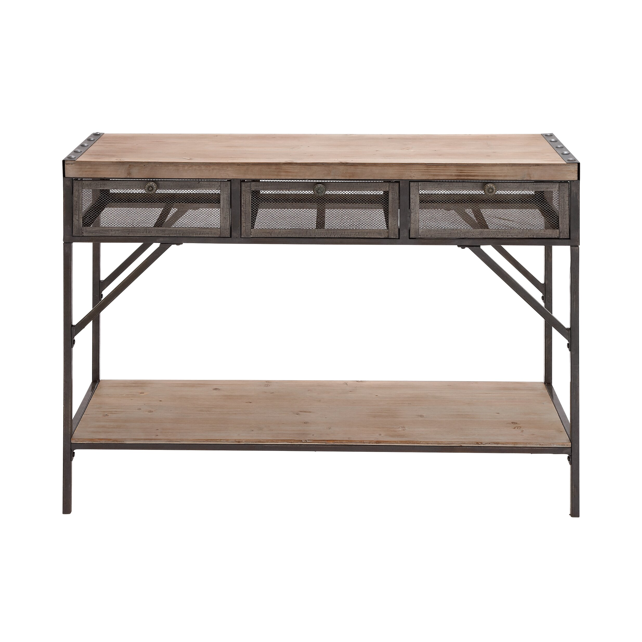 woodland imports perfect wood metal console table reviews wayfair. Black Bedroom Furniture Sets. Home Design Ideas