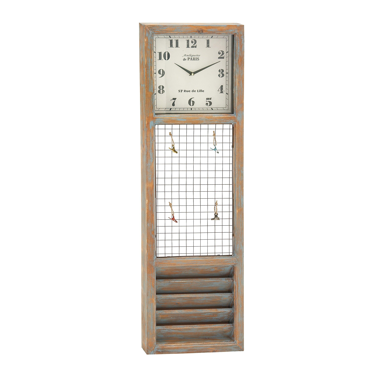 woodland imports simply distinctive wood metal wall memo clock reviews wayfair