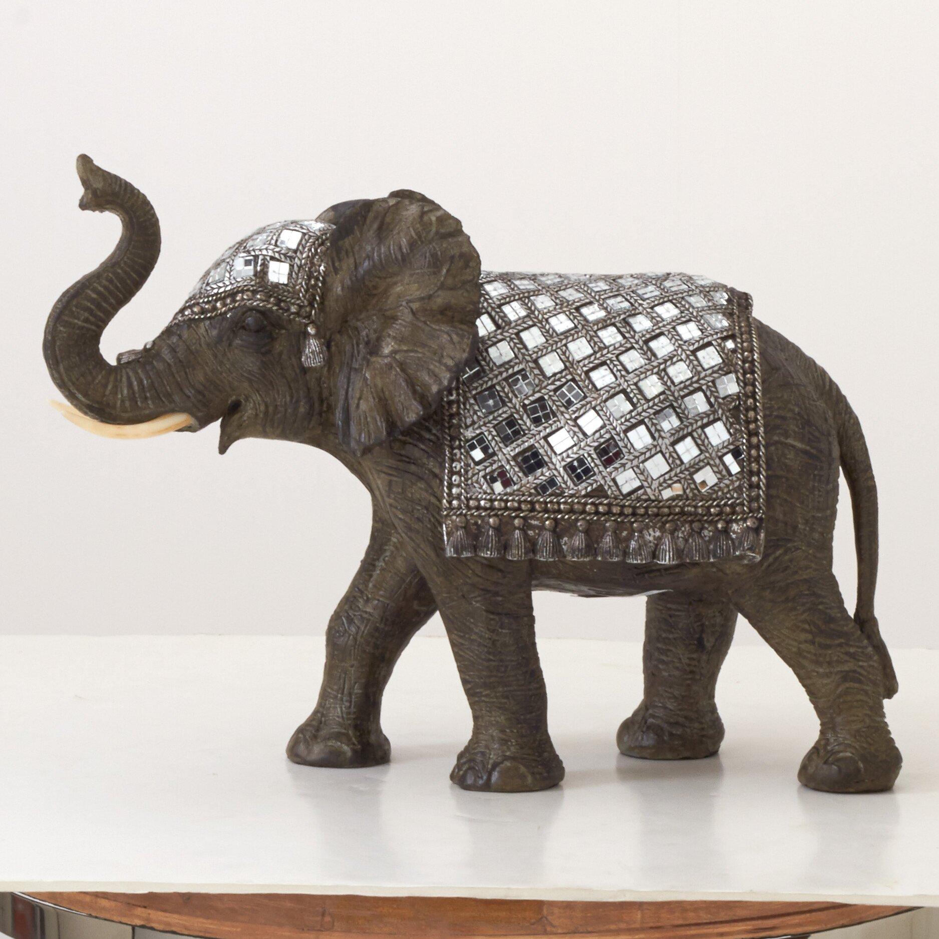 woodland imports mirror elephant figurine reviews wayfair. Black Bedroom Furniture Sets. Home Design Ideas