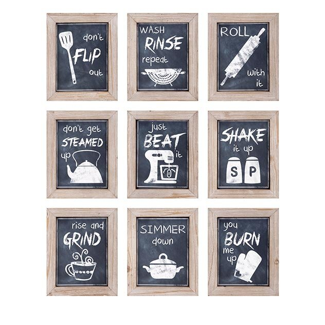 Woodland imports 9 piece kitchen inspirations wall decor for Kitchen decoration piece